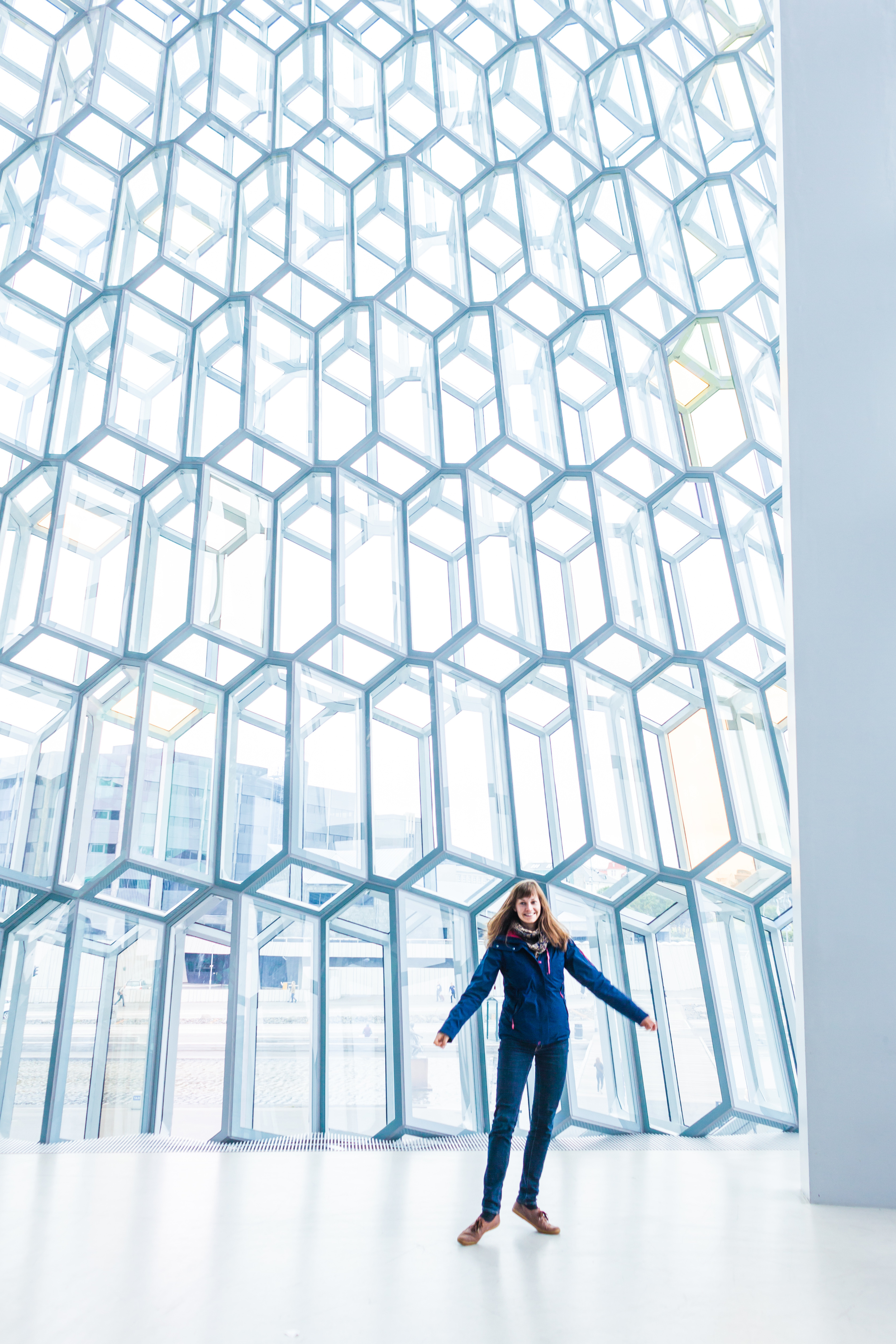 Theresa from Germany. Harpa Concert Hall, Reykjavik.