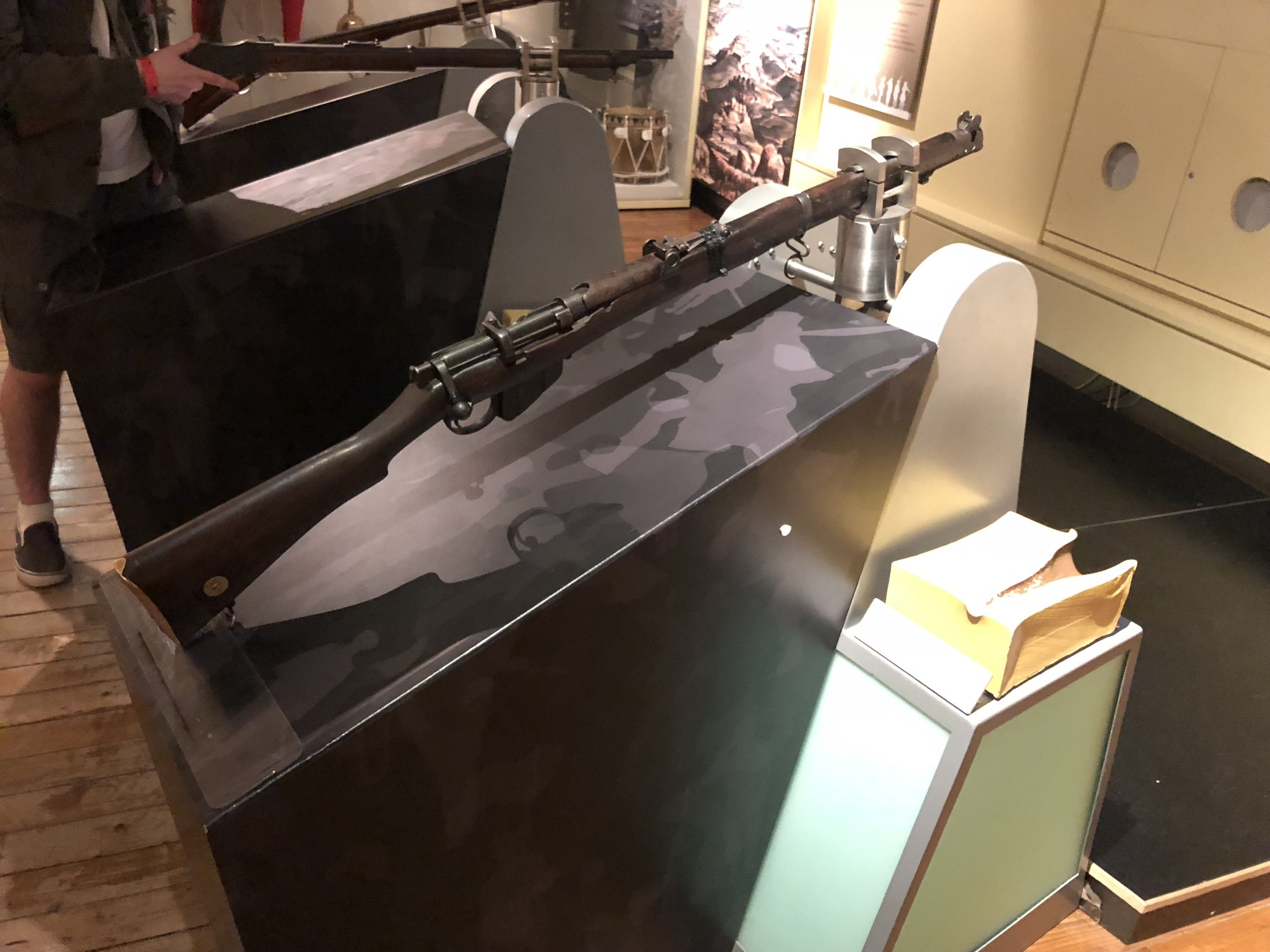 One of my favorite parts of the museum was the interactive display of old guns. After you picked one up, the screen displayed the proper way they were used and handled. Next to the guns was a wooden block depicting the result of the bullet on contact with a human.