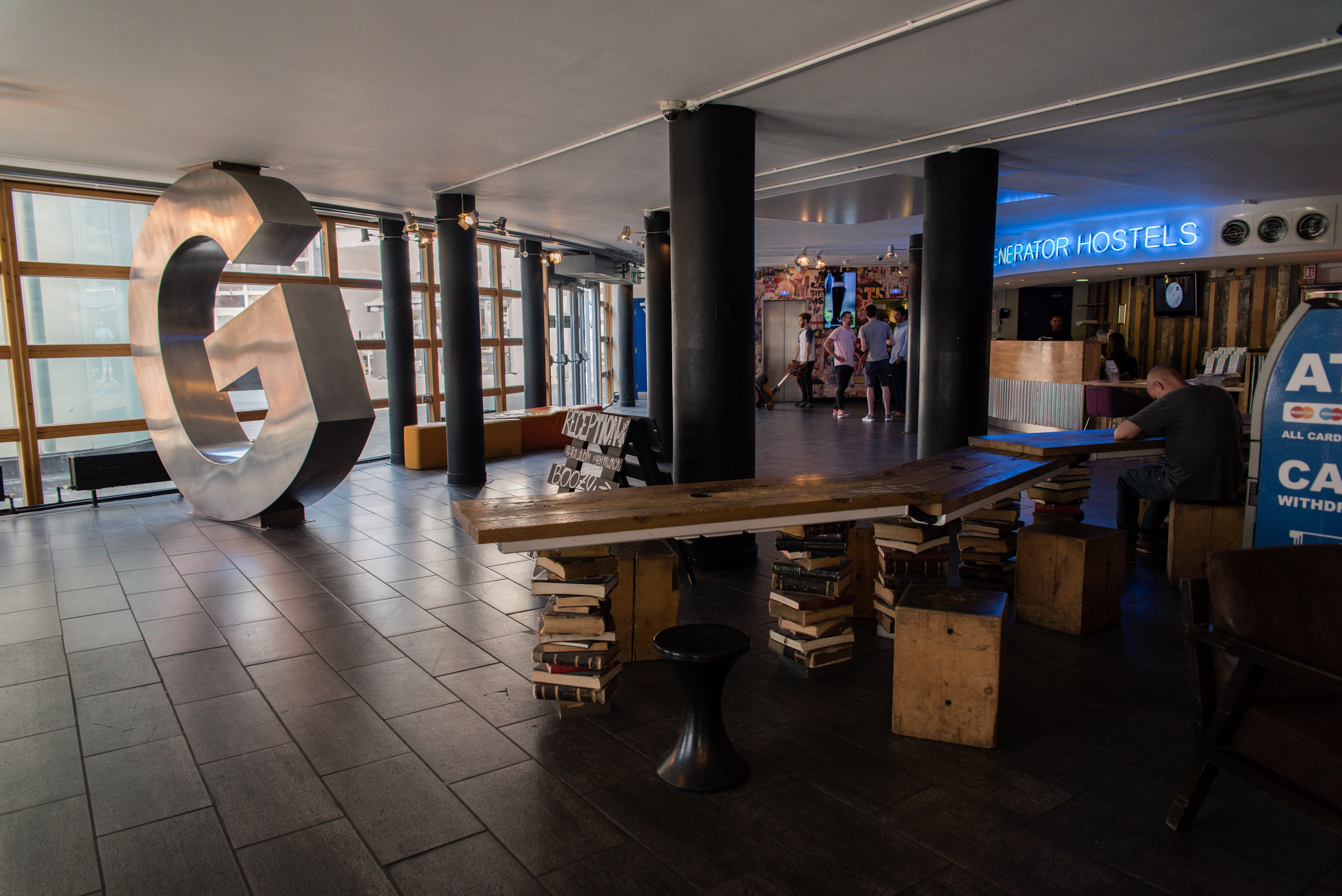 The lobby of Generator Hostel located in Smithfield Square in Dublin.