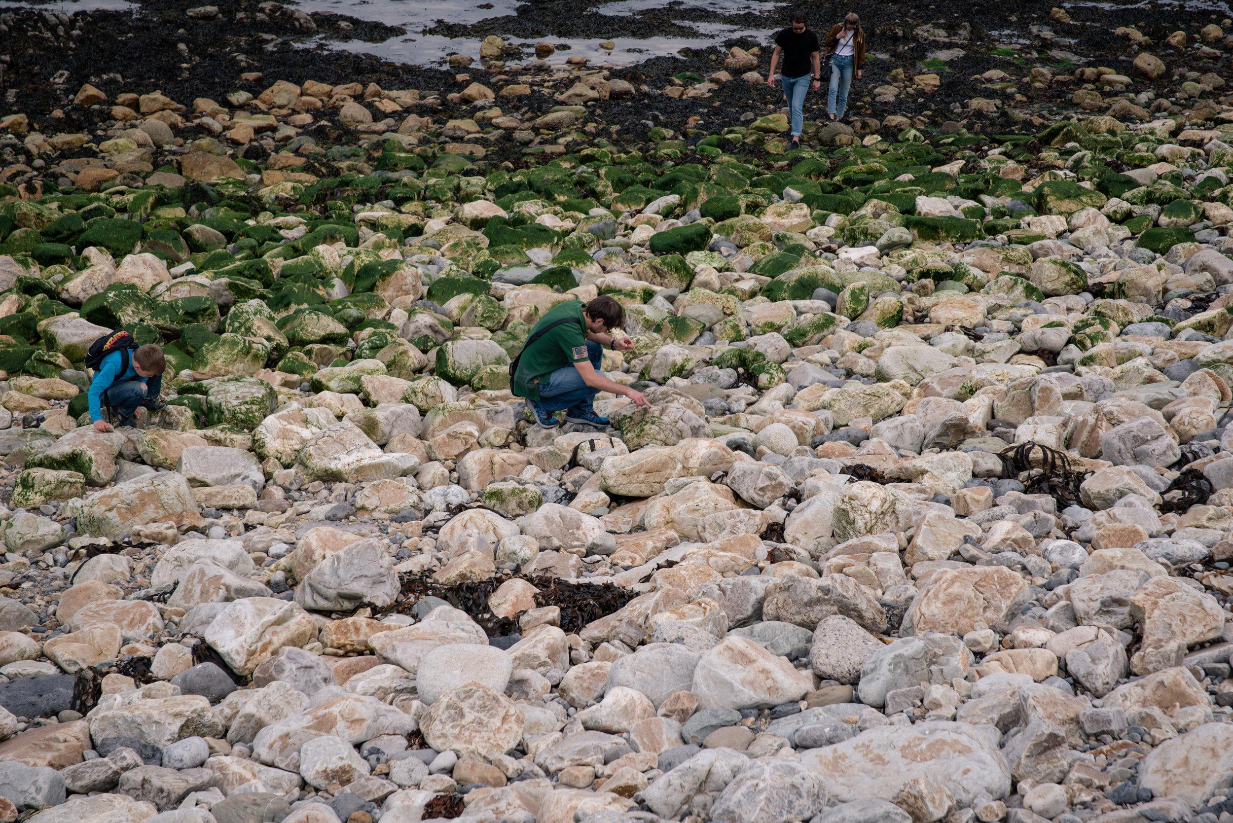 A few people were walking among the rocks here.