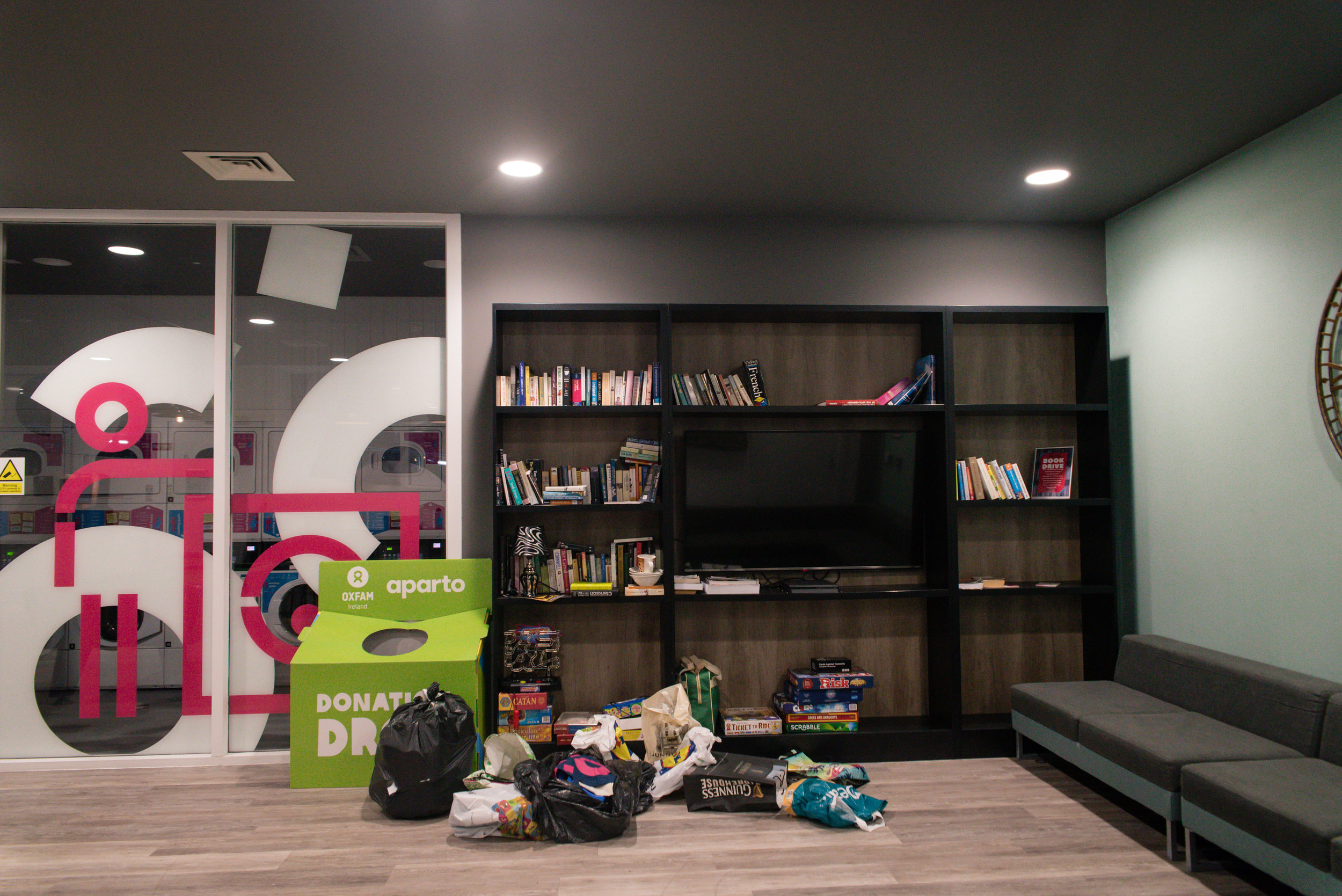 The laundry and hang out area.