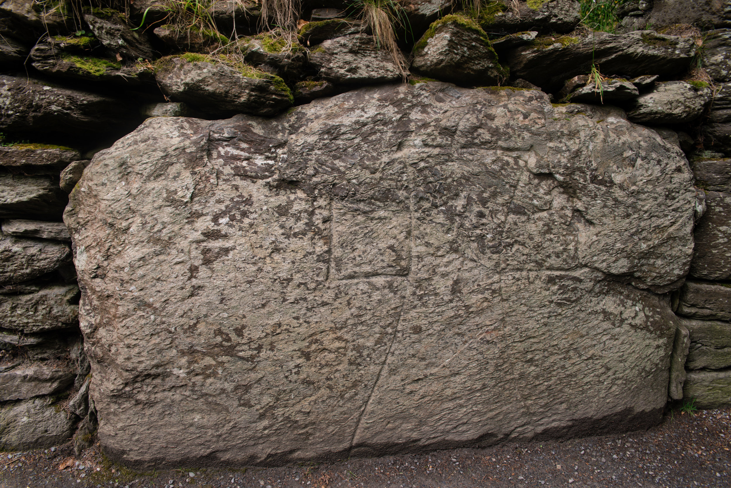 This is the sanctuary mark right beyond the archway leading to the old monastic city. Once a traveler passed this stone, they were under the protection of the city.