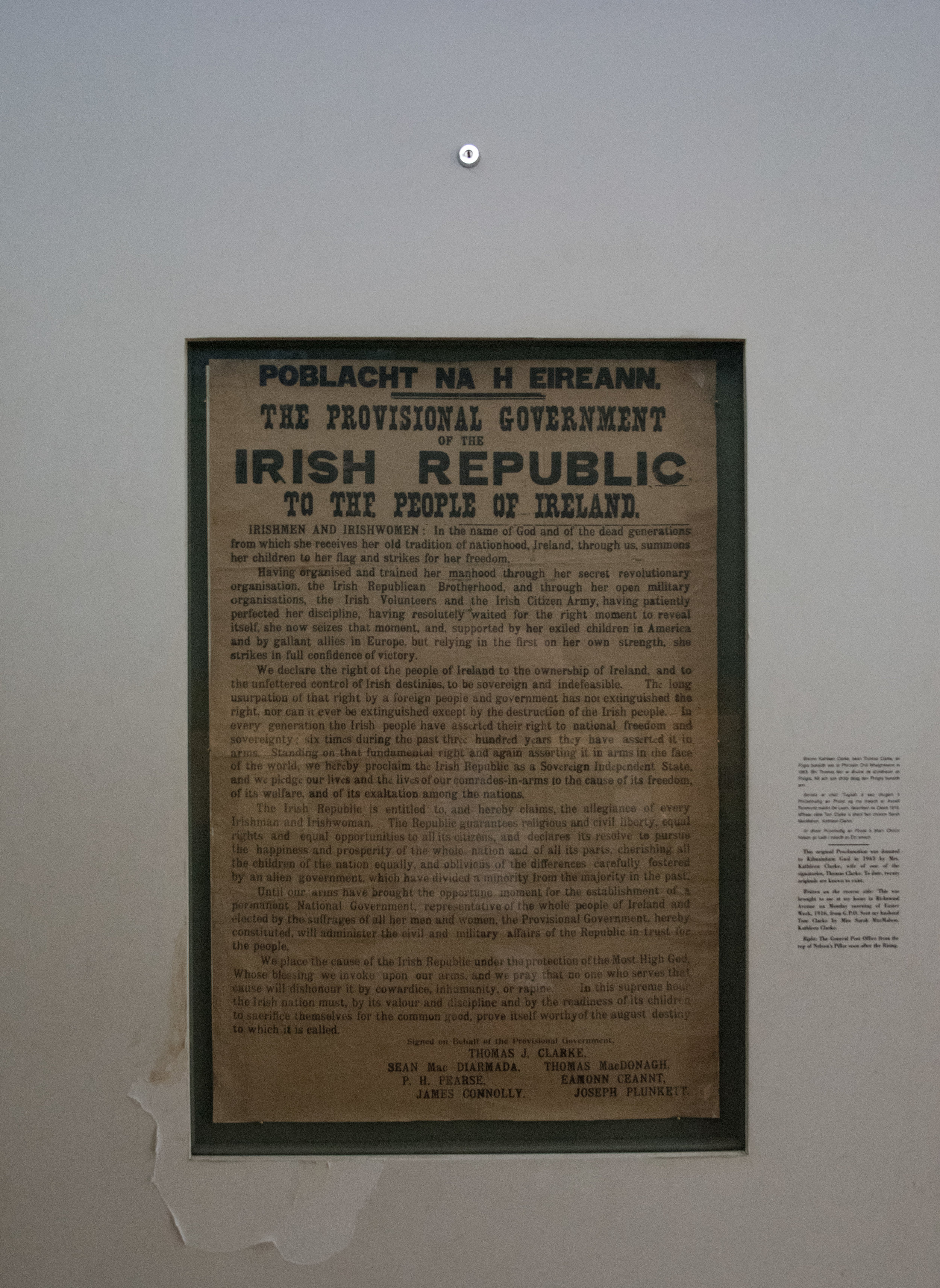 Inside the museum at Kilmainham was one of the original Proclaimations.