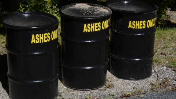 Long after a fireplace is out coals buried in ash remain very hot. Use the ash containers  here .