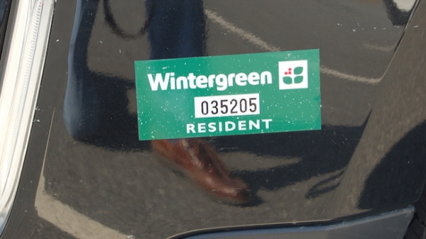Wintergreen resident decals should be placed on the front, driver-side bumper.  Details .