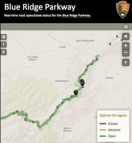 Status of the Blue Ridge Parkway - The parkway that borders Wintergreen is usually closed in the winter due to ice and snow, but mild temperatures makes the road useable in the winter. Severe thunderstorms in the summer have shut the parkway down at times.See the Parkway's current status HERE.