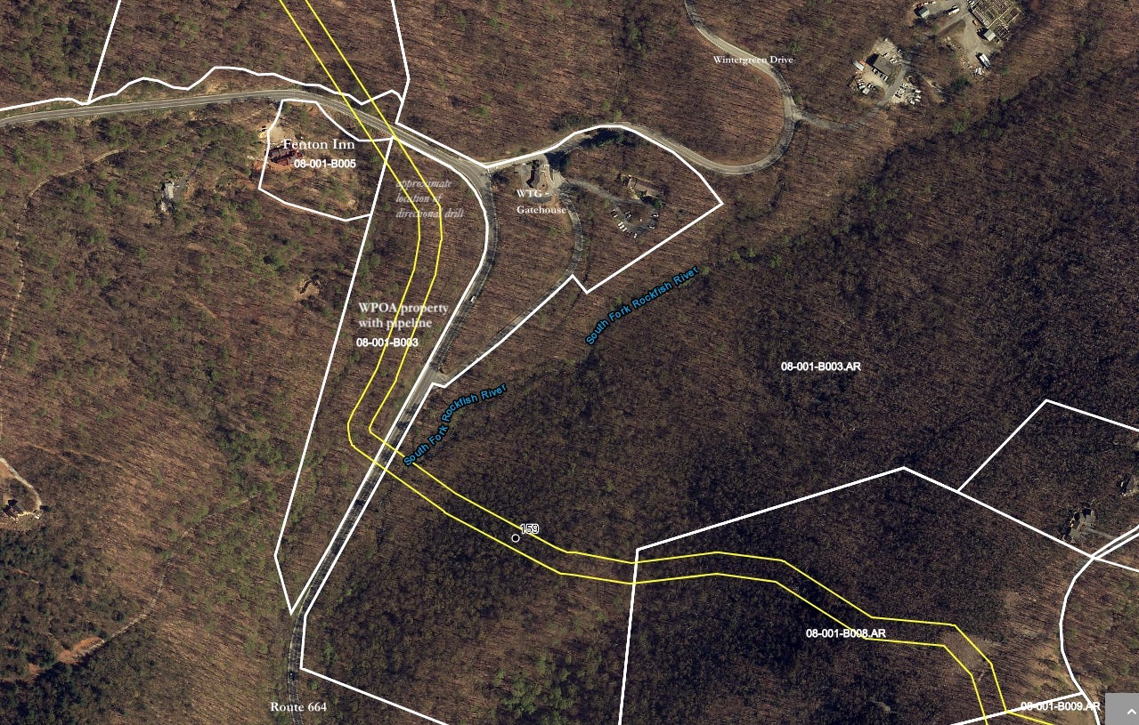 -Click image to enlarge    This map from the  Atlantic Coast Pipeline website includes    property lines.Pipeline route is in yellow.     ACP's construction plans call for a horizontal directional drill on WPOA's property to bore a tunnel for the pipeline beneath the National Park Service's Blue Ridge Parkway and the Appalachian Trail. The work by the ACP at this location is a unique situation along the pipeline's 600-mile route. ACP's work on Wintergreen's property is scheduled to go on for months longer than most locations where the pipeline construction takes place.