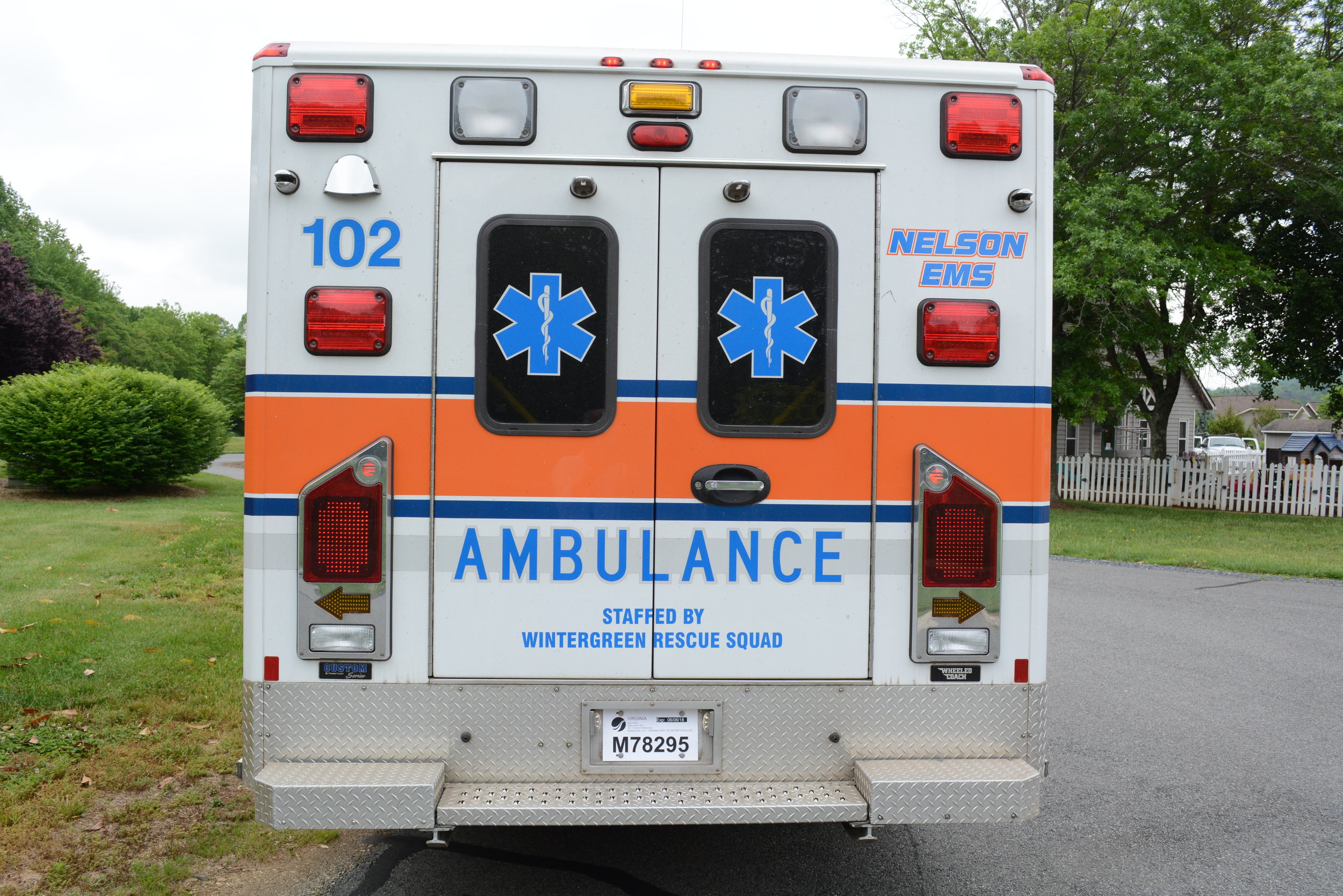 "Ambulances with ""Nelson EMS – Staffed by Wintergreen Rescue"" are our Lovingston-based trucks."