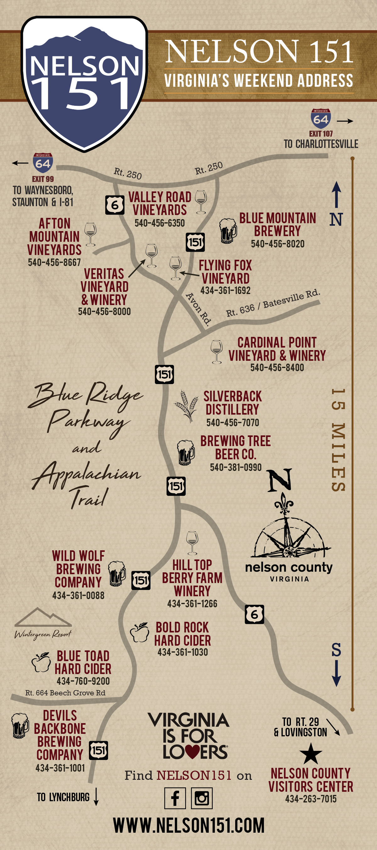 Route 151 is the primary route to Wintergreen and the destination for Virginia wine, craft beer and hard cider lovers.    Learn more
