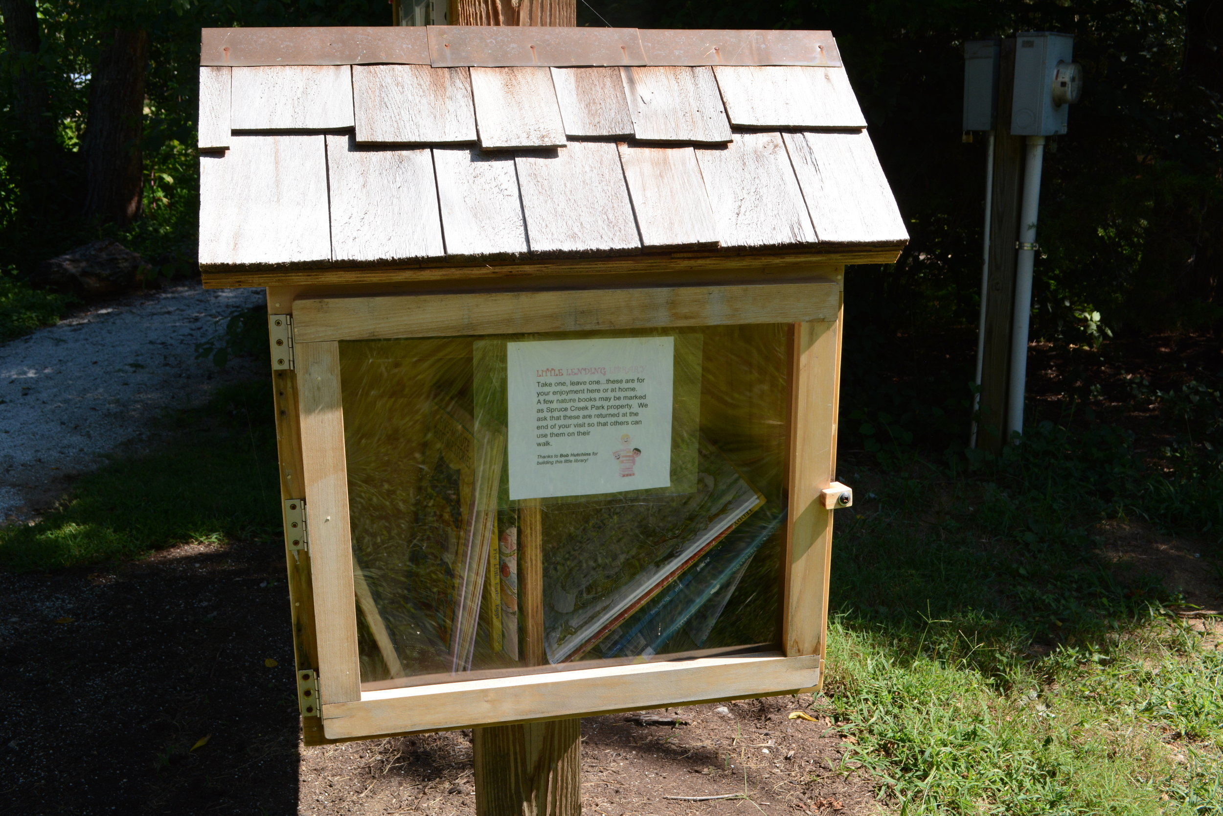 The park's take-a-book, give-a-book outdoor children's library is working well.