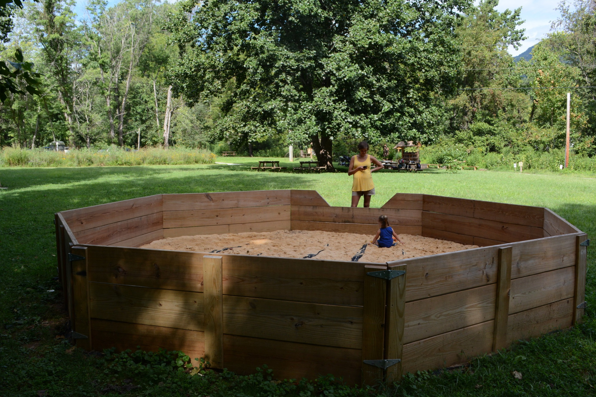 The huge sandbox is another must-do for most.