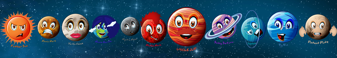 Bring home the Galaxy to you and your friends. Introducing the wild and crazy characters of our galaxy. From Manic Merc to Potent Pluto and everyone in between, yes even big, proud and loud Uncle Jup. They are part of our family and we all want Mama Earth to thrive.