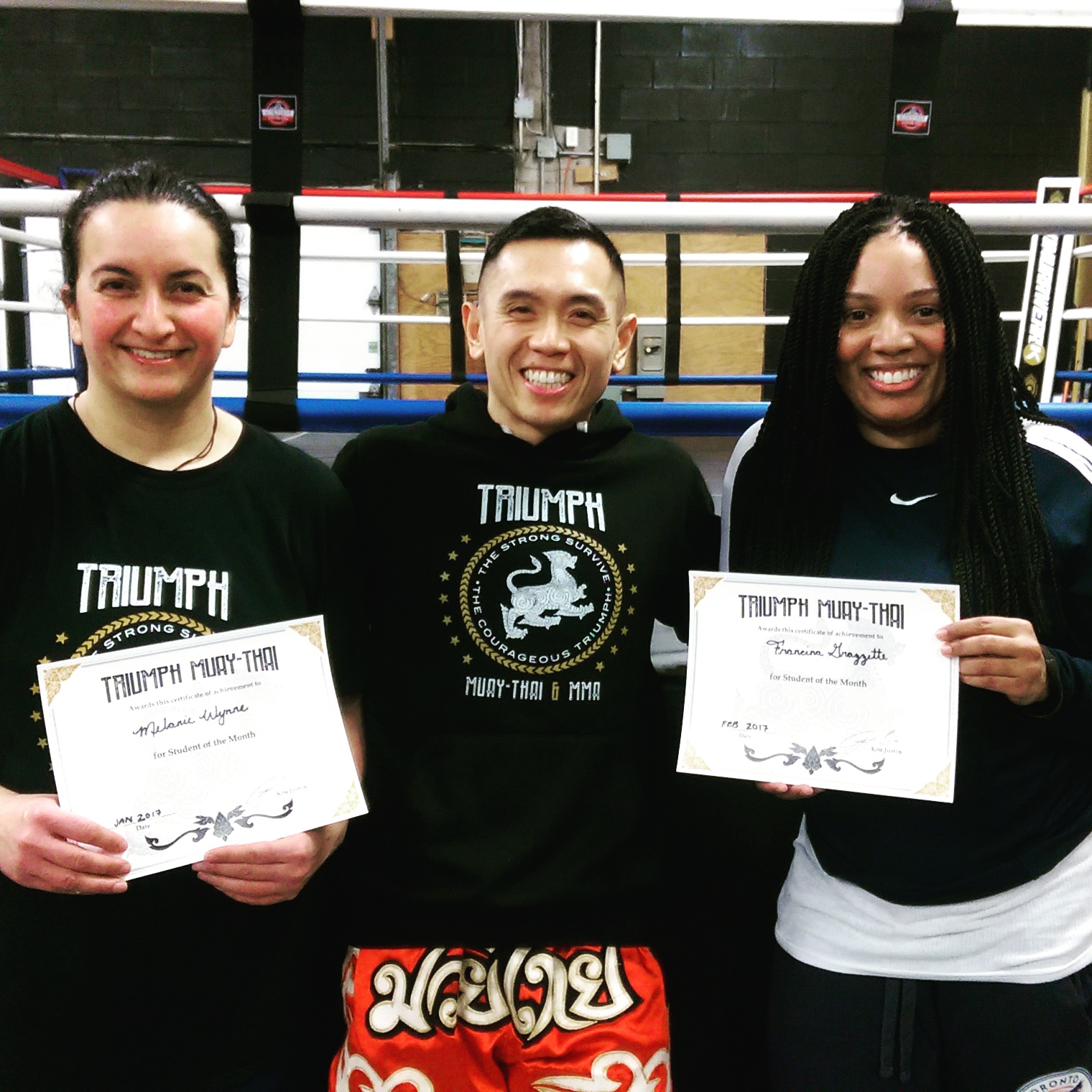 There is no substitute for hard work!  Congratulations to Melanie and Francina for having more then a 70% attendance rate for the month of January and February. Both earned student of the month awards! Keep up the good work girls!  #muaythai #boxing #kickboxing #Kali #kettlebells #hit #strength&conditioning #motivation #determination  #consistency #hardwork #results #Scarborough #gym #scarboroughtriumphmuaythai