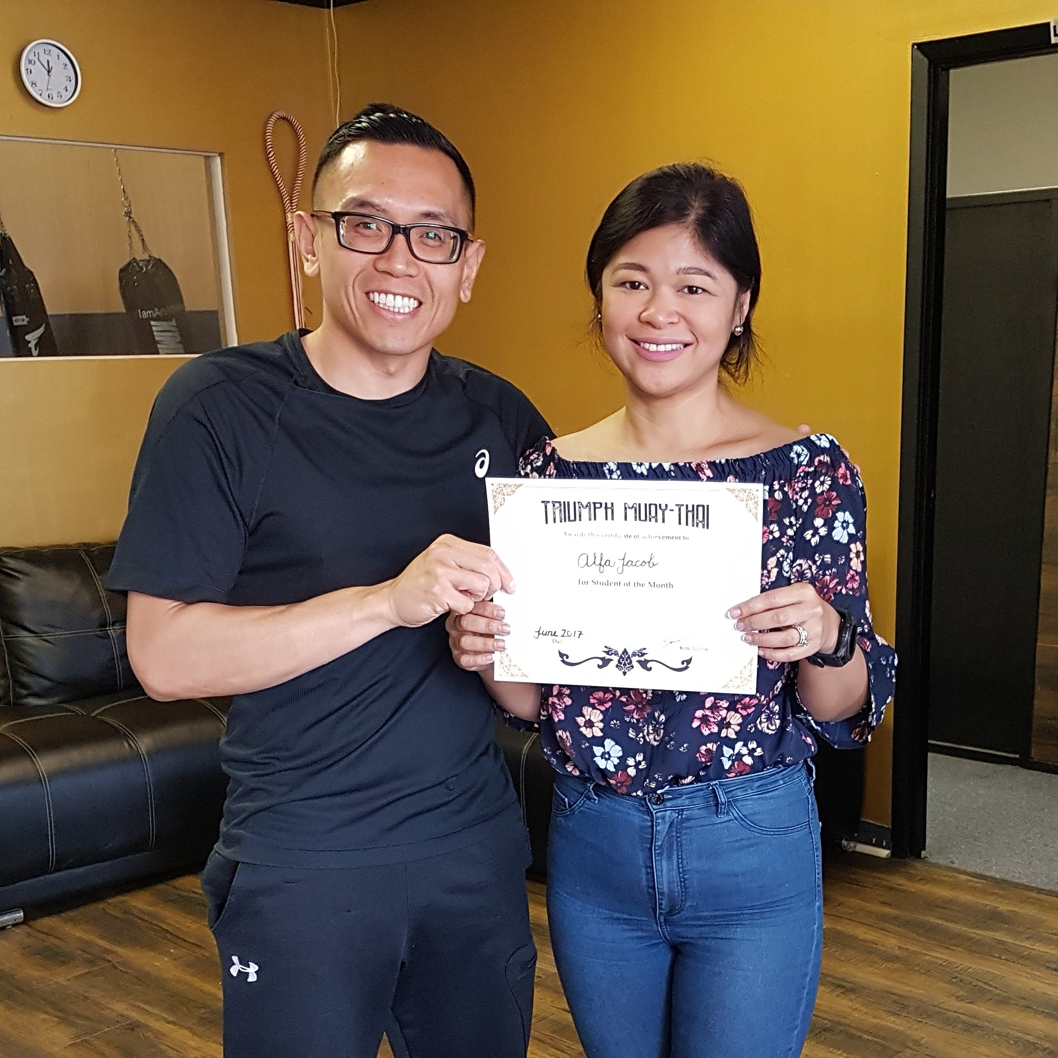 Congratulations to Alfa for earning student of the month for June! She had over a 70% attendance rate!     Alfa has lost over 30lb since joining our team! It's amazing the dedication she has to herself and our program. Keep it Alfa