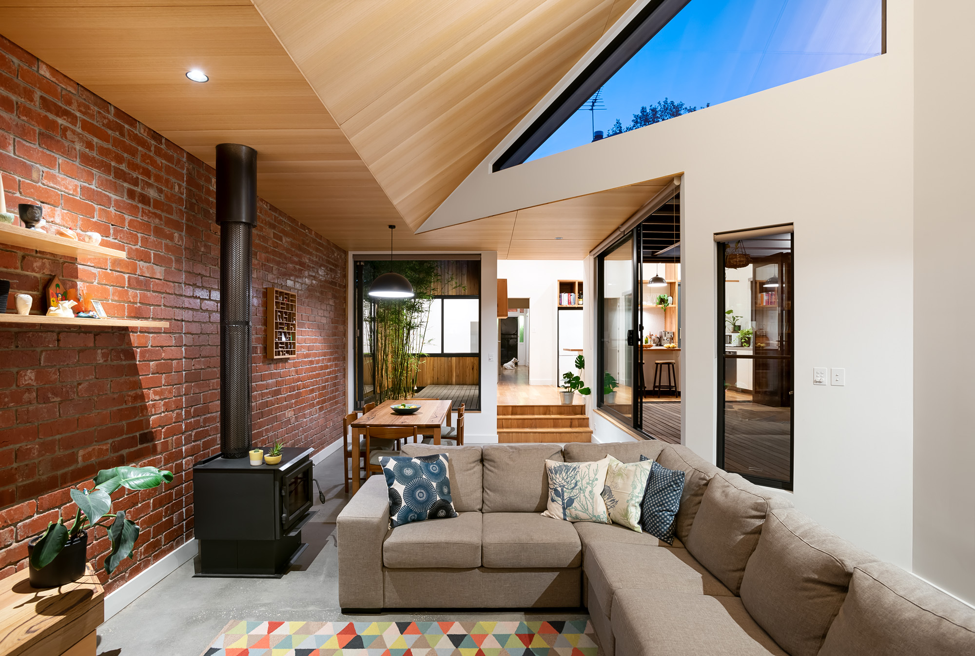green sheep collective sustainable architect melbourne triangular clerestory windows plywood ceiling.jpg