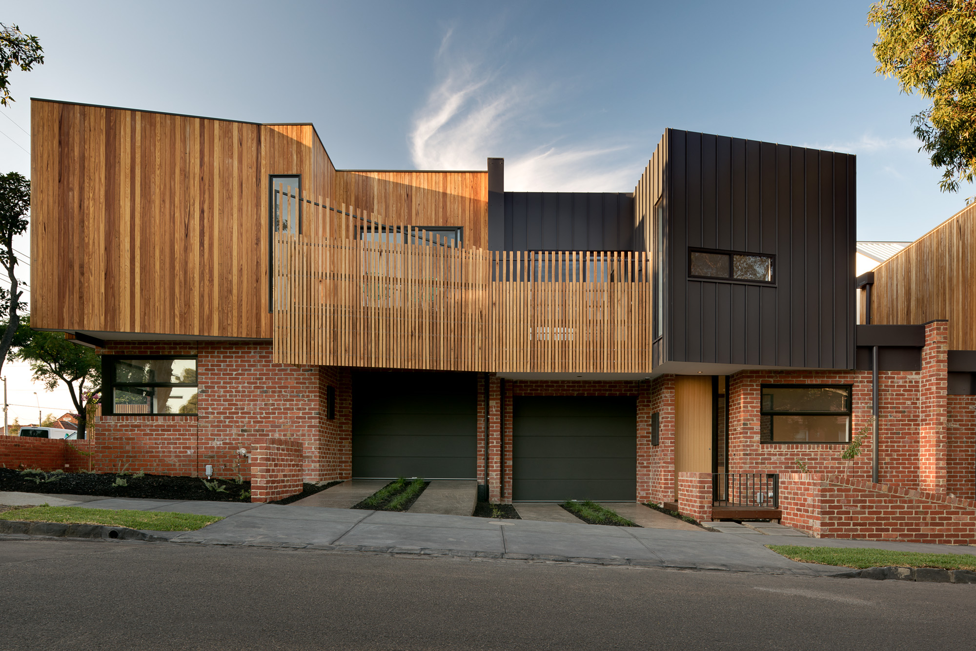 alphington townhouses radial timber cladding award winning residential architects melbourne