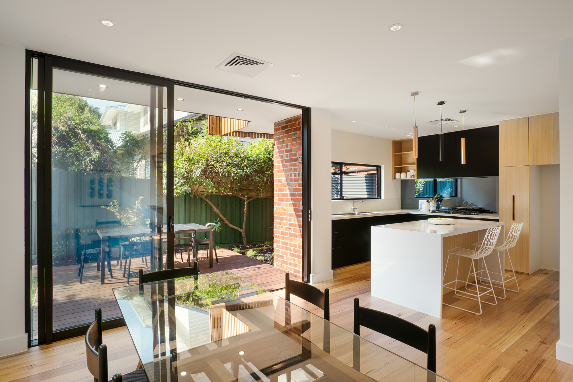 alphington townhouses open plan kitchen award winning residential architects melbourne