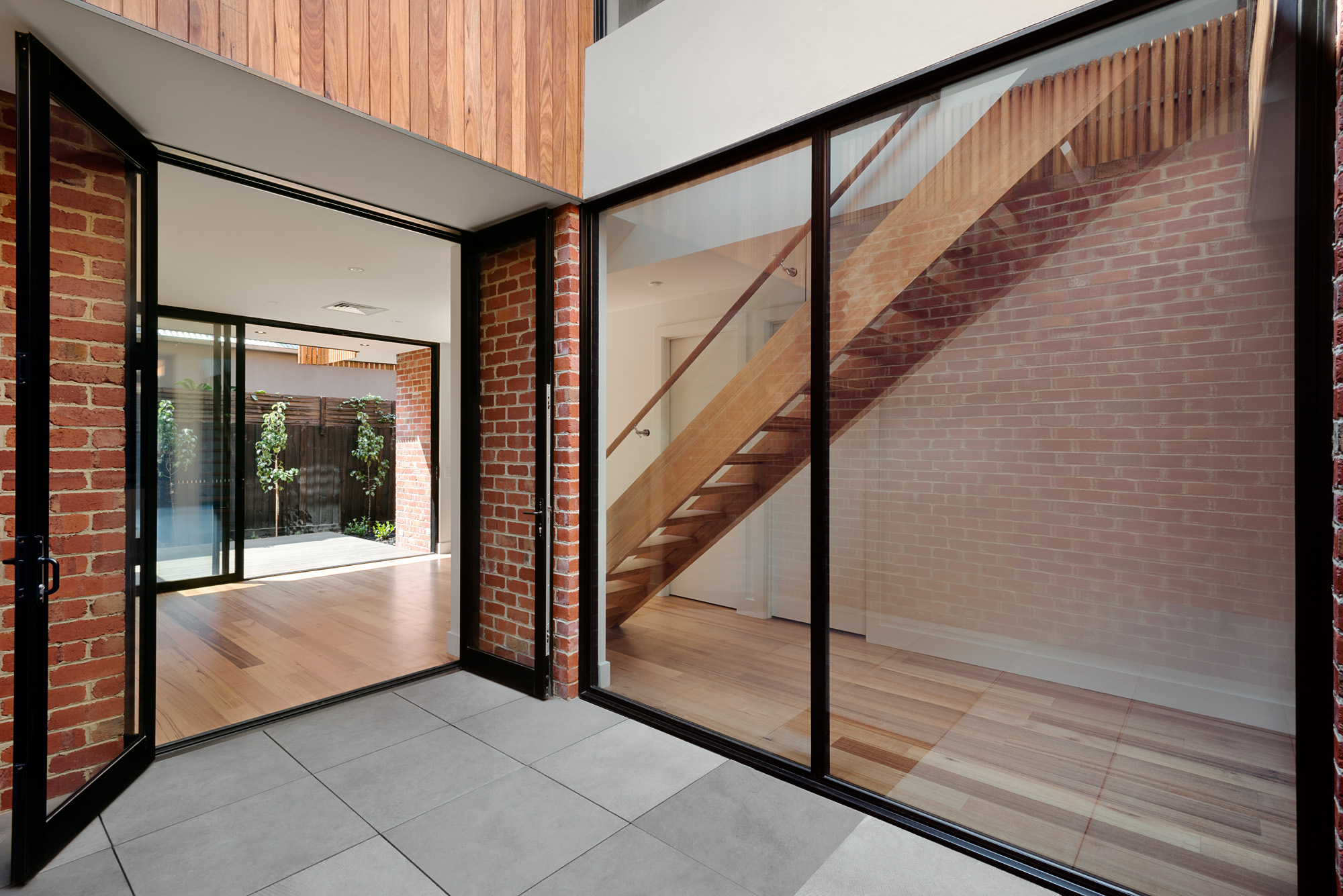 alphington townhouses cross ventilation courtyard award winning residential architects melbourne