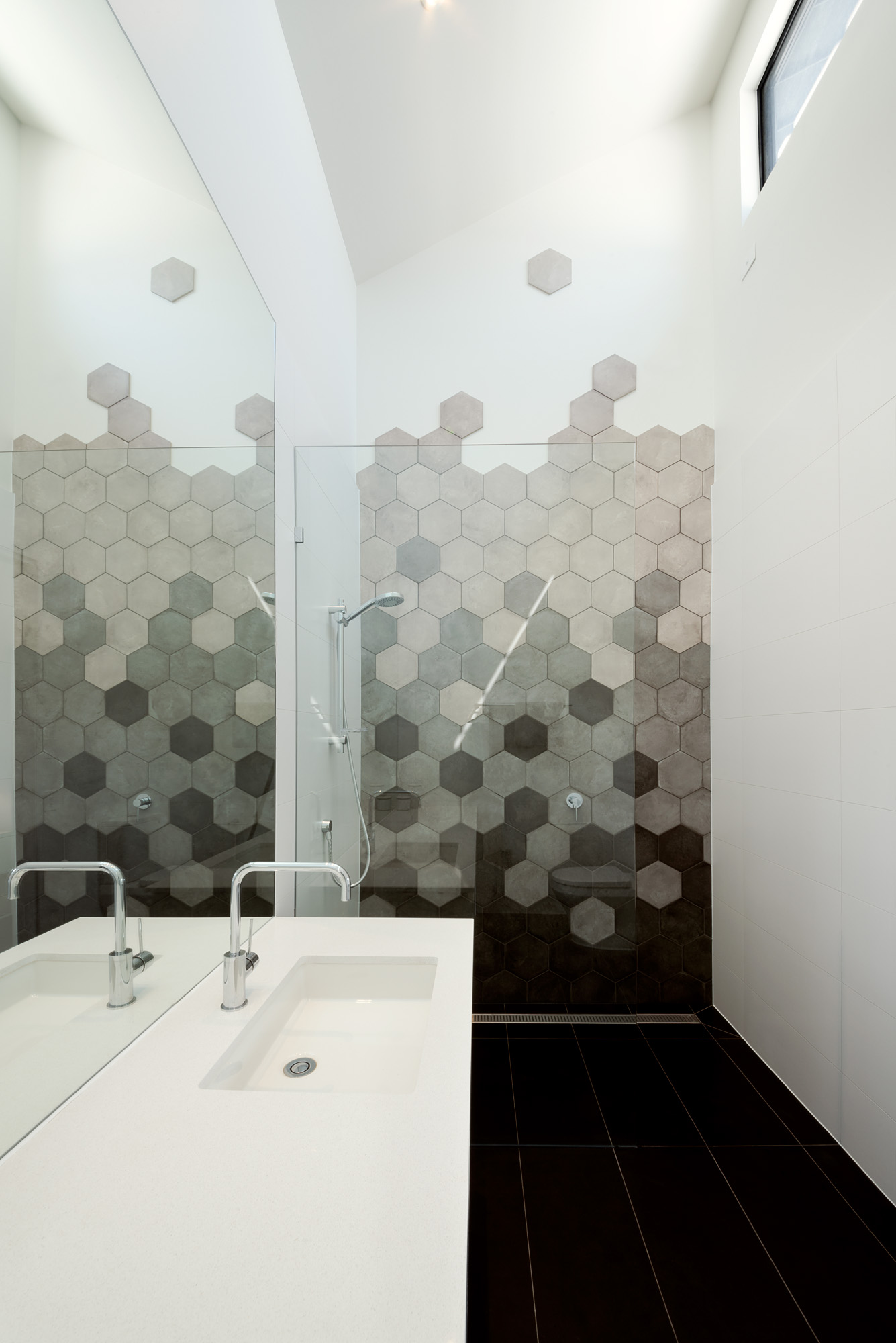 alphington townhouses octagonal tile light filled bathroom award winning residential architects melbourne