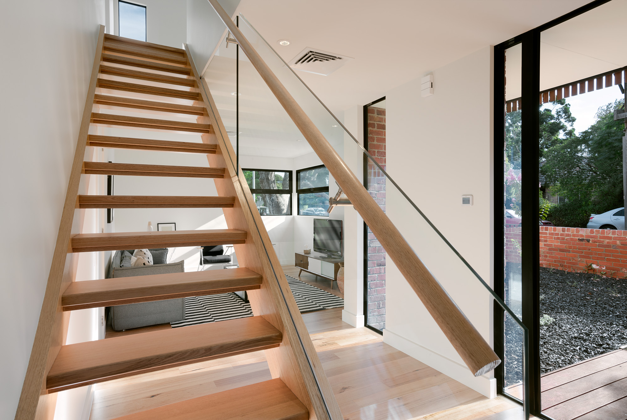 alphington townhouses open tread timber stair award winning residential architects melbourne