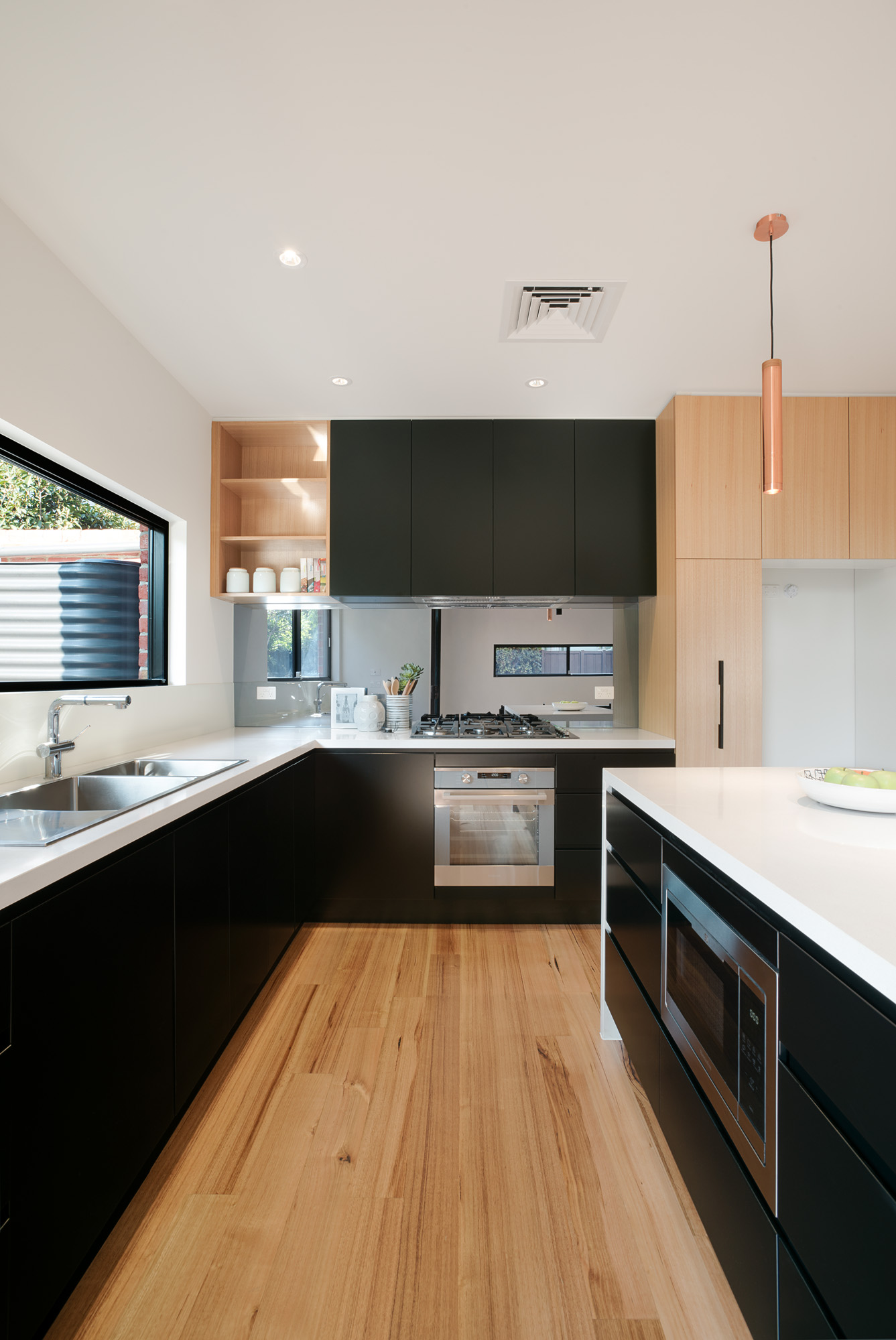 alphington townhouses modern galley kitchen award winning residential architects melbourne