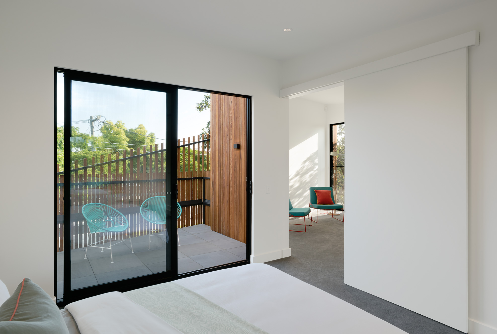 alphington townhouses private balcony radial timber cladding award winning residential architects melbourne