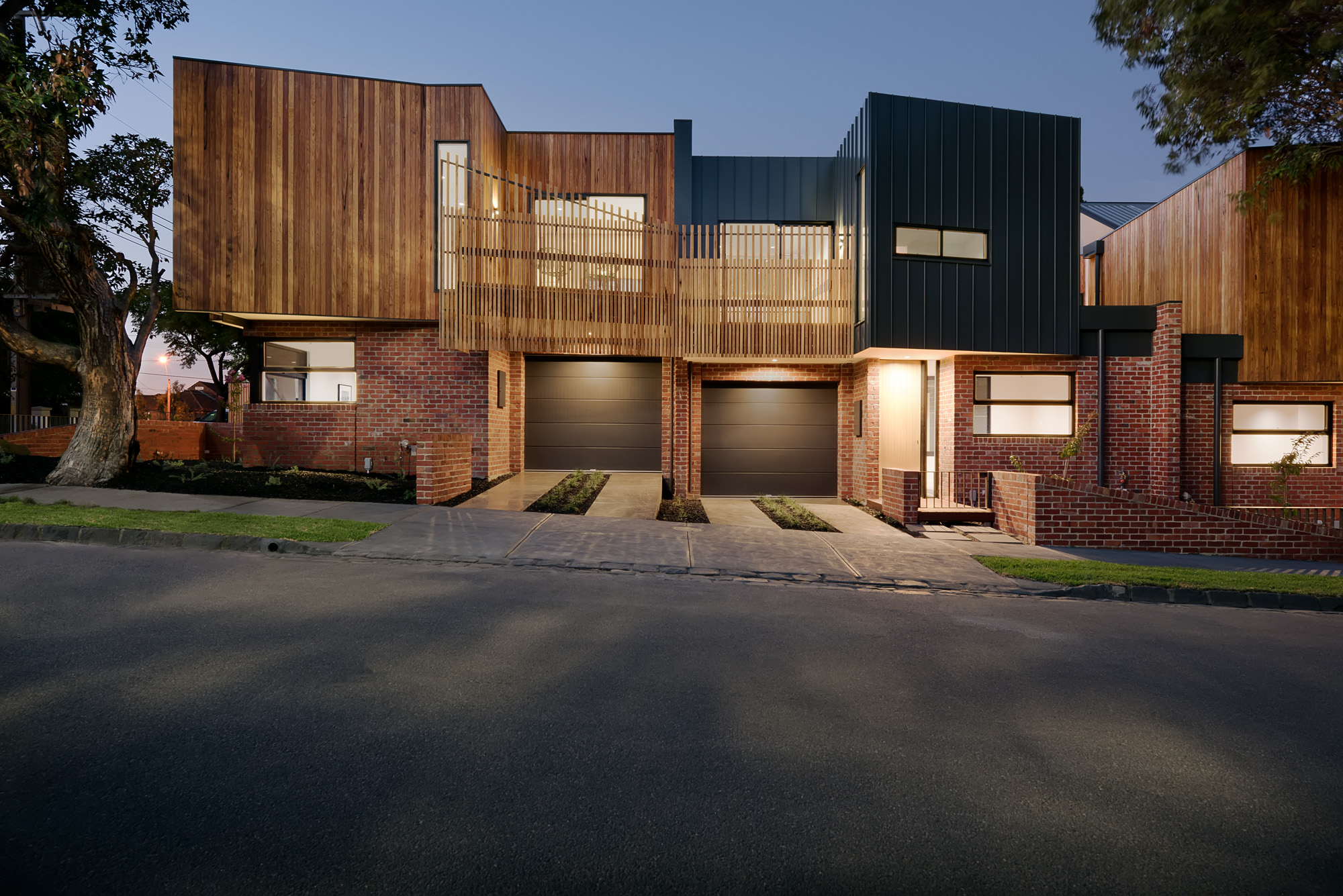 alphington townhouses radial timber balcony screen award winning residential architects melbourne