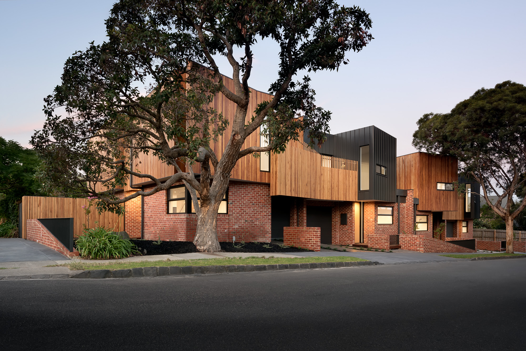alphington townhouses harmonious integrated streetscape award winning residential architects melbourne