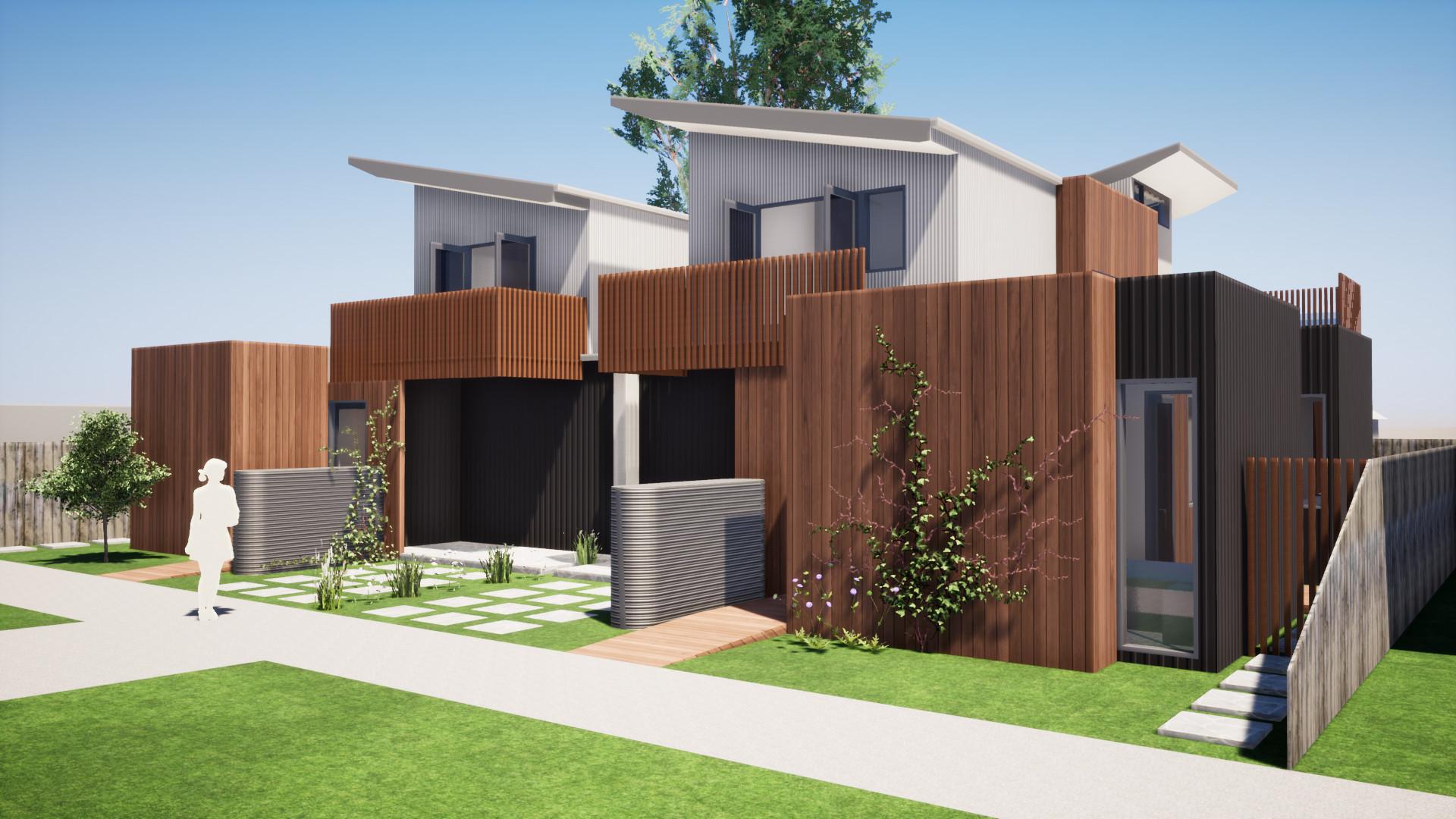 top bendigo architects sun townhouses spandek metal cladding multi residential development