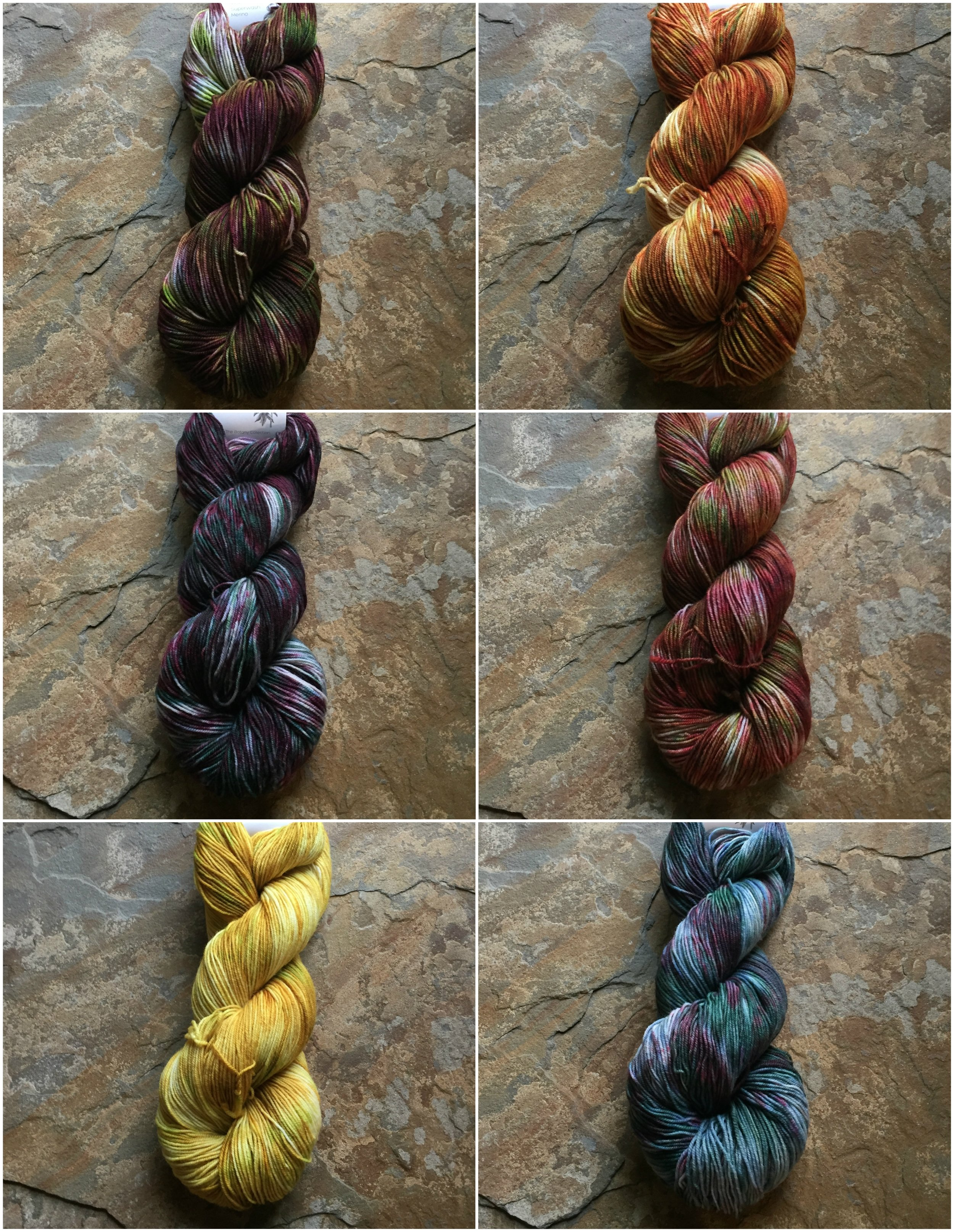 The Botany Collection Colorways. Left Column from top to bottom: Jack in the Pulpit, Elderberry, and Wild Mustard. Right Column from top to bottom: California Poppy, Prickly Pear Cactus, and Succulents.