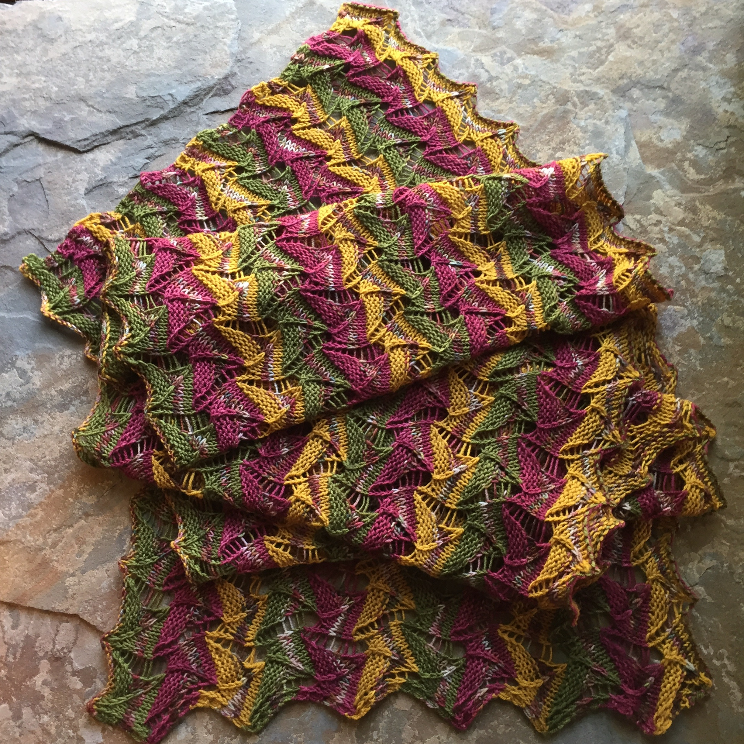 The Oriflamme Shawl knit and designed by Jennifer Kirchenbauer of LavishCraft.