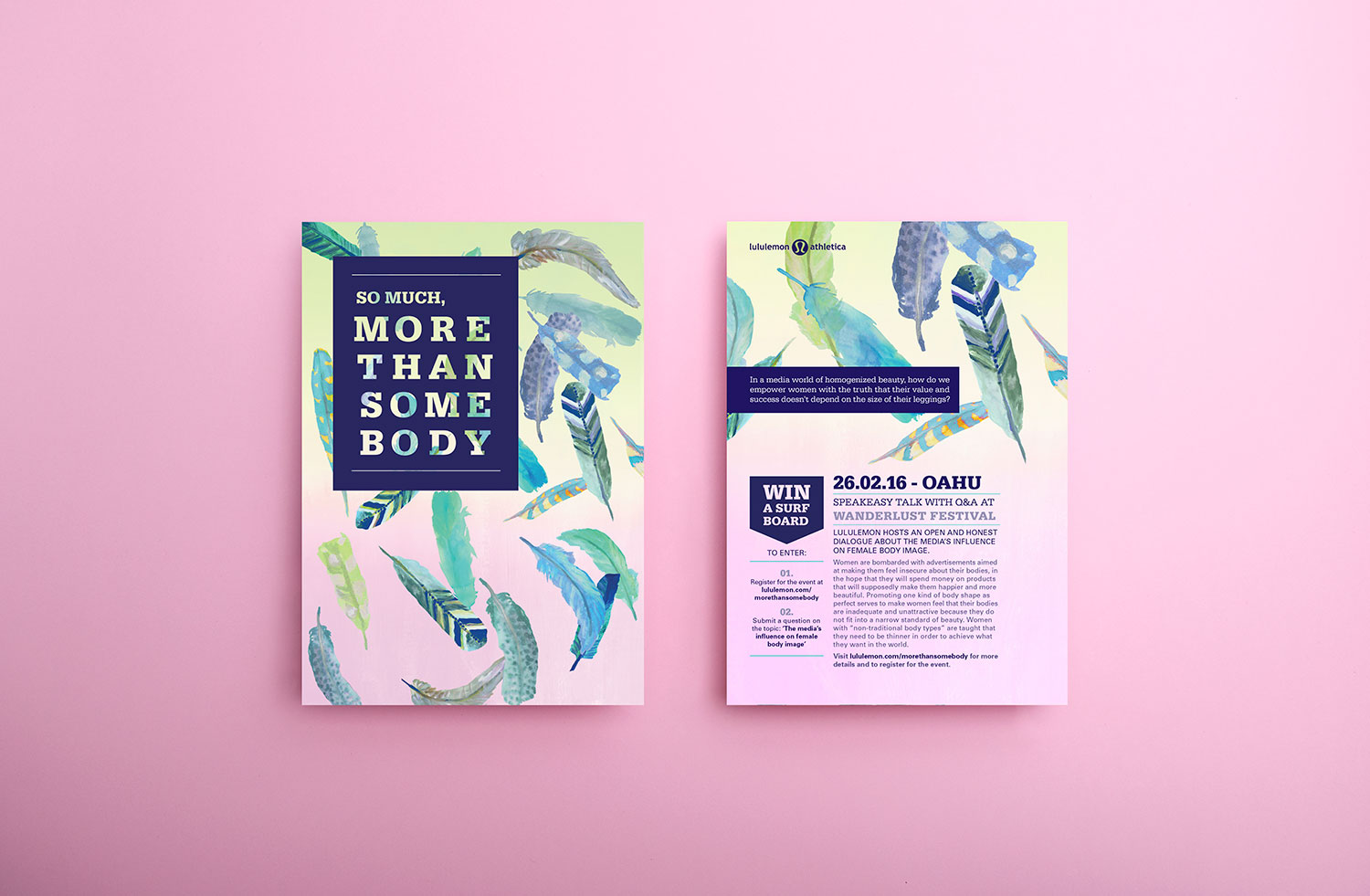 Lululemon event campaign graphic design concept advertising material, featuring pastel gradient, typesetting and watercolor hand painted feathers.