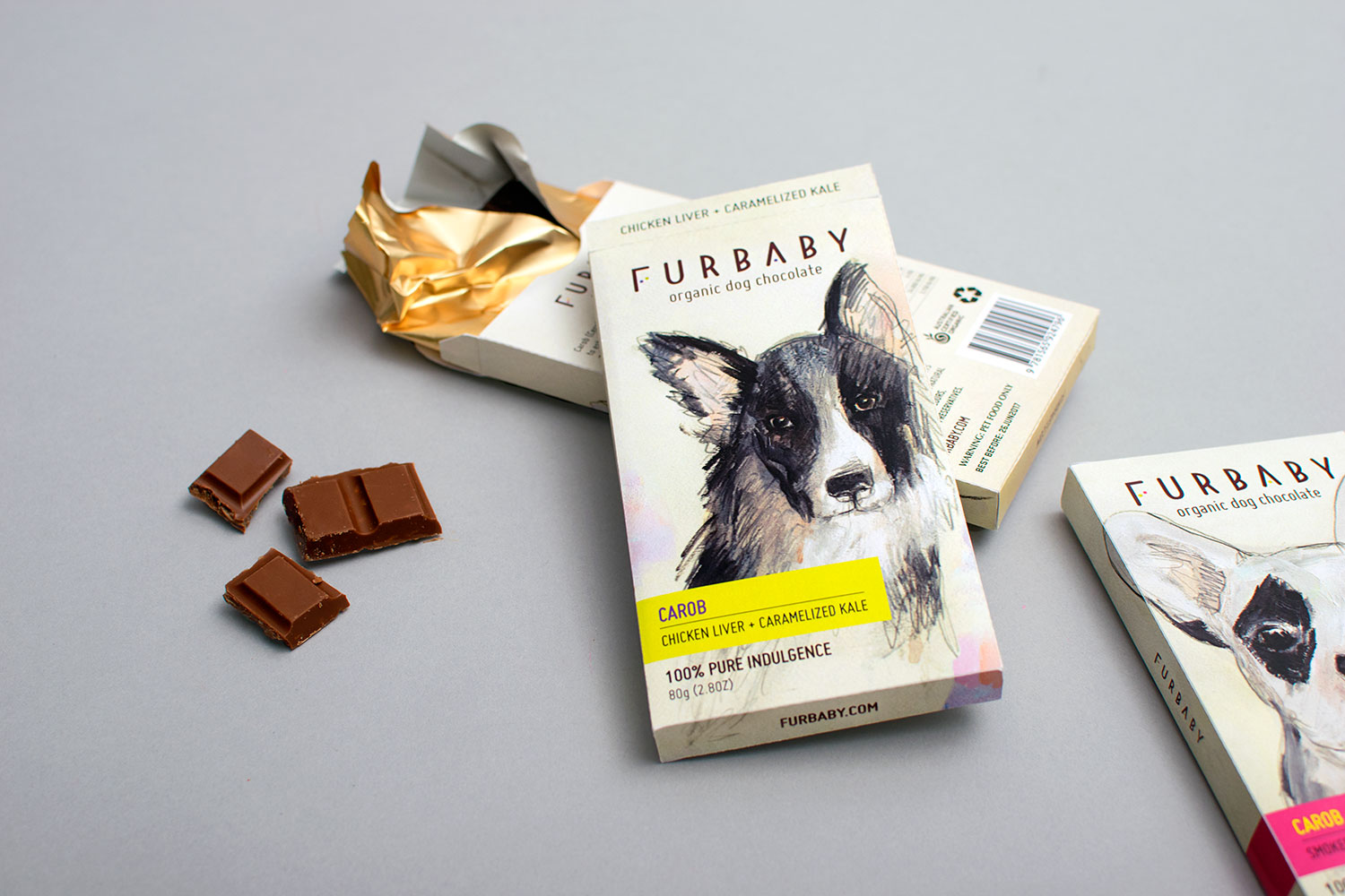 Chocolate packaging and branding graphic design, Furbaby organic dog chocolate, featuring hand drawn dogs, typesetting and original logo design.