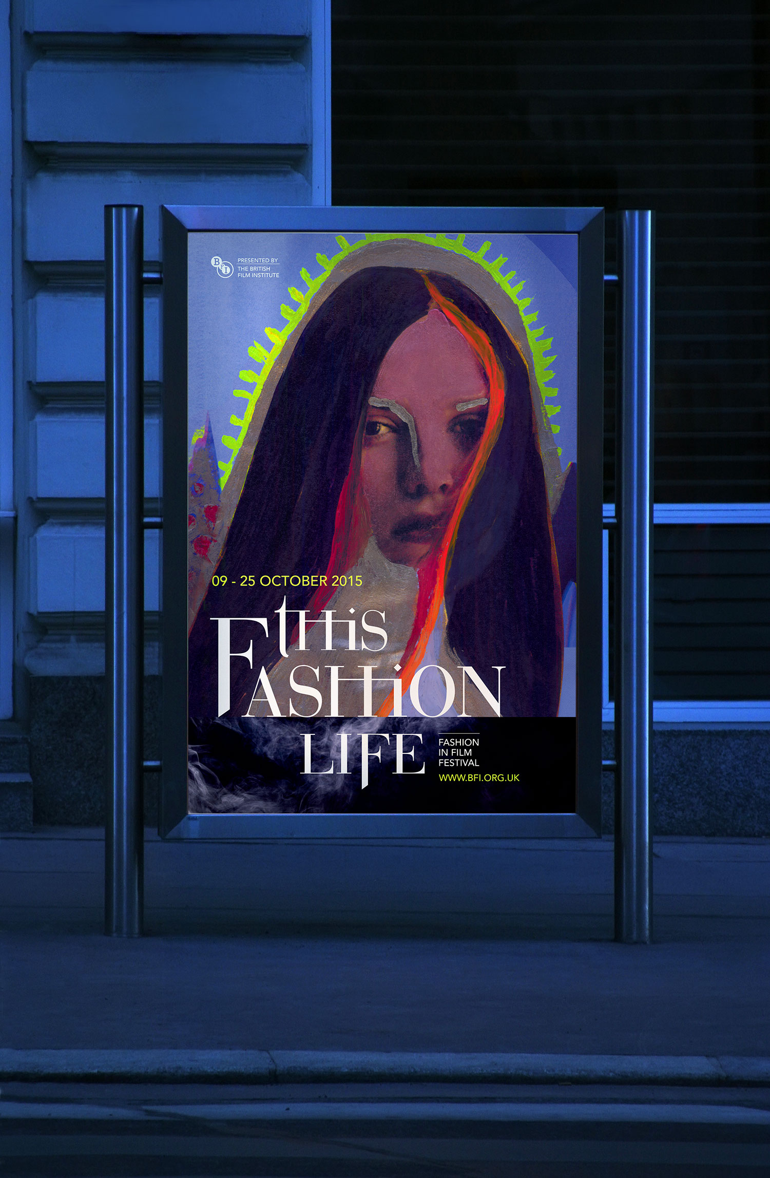 Graphic design and fashion film festival poster concept, featuring hand painted fashion model and Romeo & Juliet inspired typography.