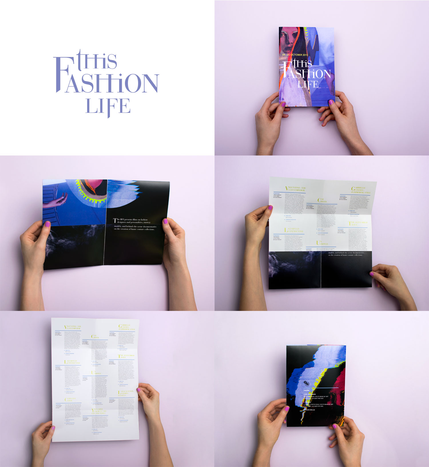 Fashion film festival brochure design and concept, this fashion life, featuring hand painted fashion model and Romeo & Juliet inspired typography, brochure fold displayed.