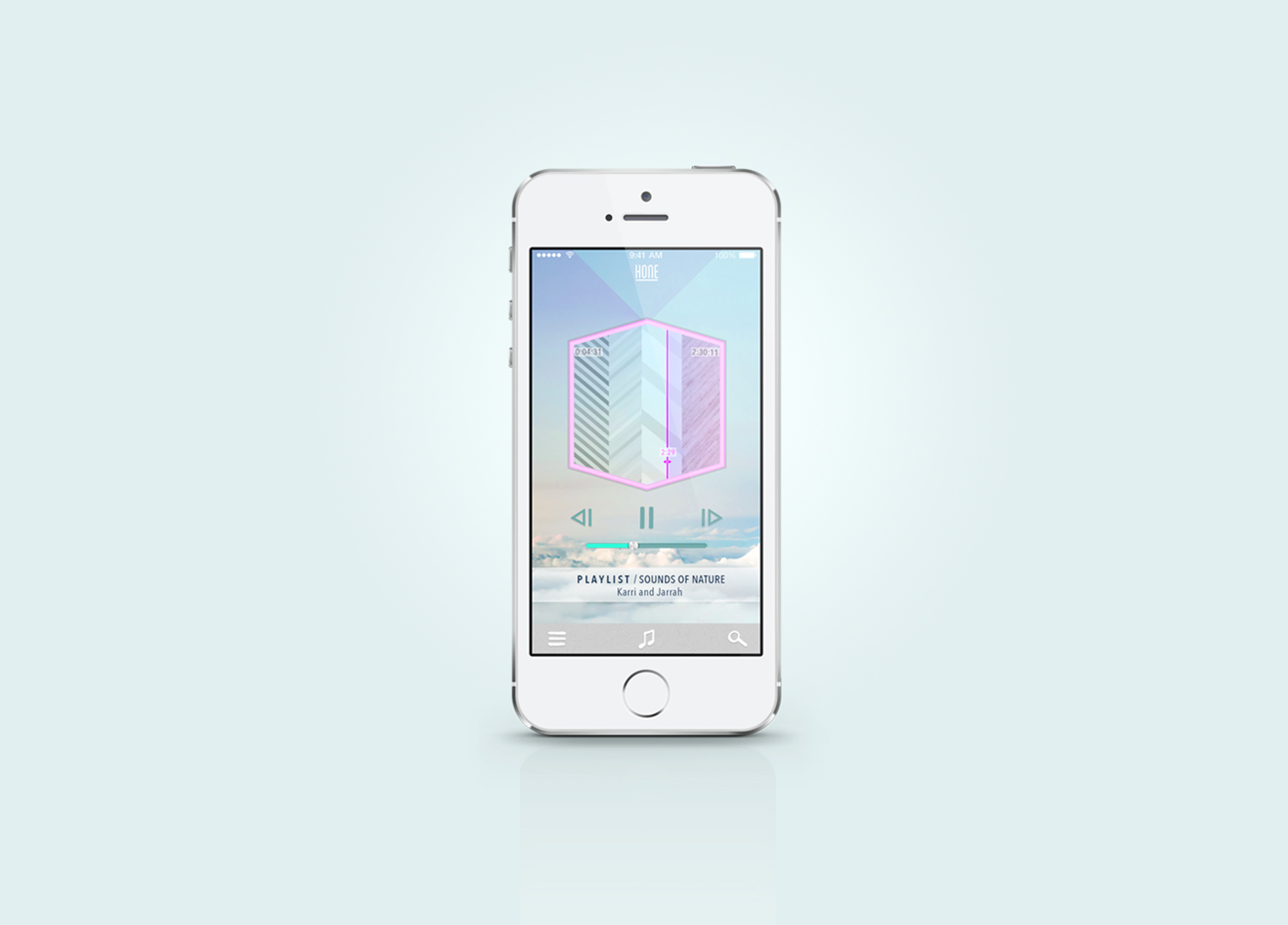 Graphic Design, user interface design music media player app, features cloud background and pastel geometric shapes.