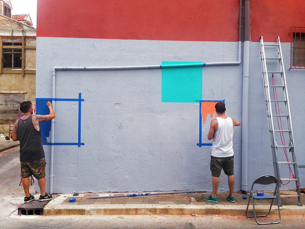Haas & Hahn community mural project in Curacao, workshop part of Favela Painting Academy, design work in progress by Dre Urhahn and Jeroen Koolhaas.