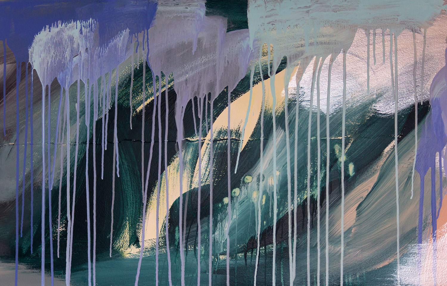 Close up detail of abstract painting featuring drips and metallic paint, brush strokes visible.