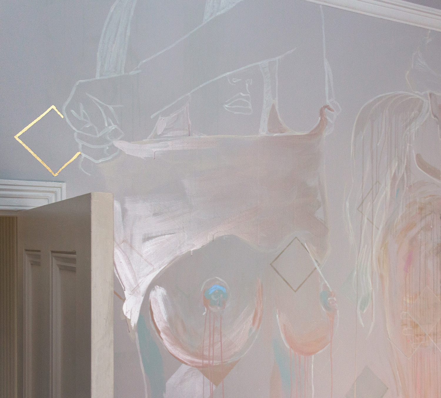 Topless woman mural - female is taking her top off and exposing her naked breasts. Painted in pastel and metallic colours, the woman's top glows.
