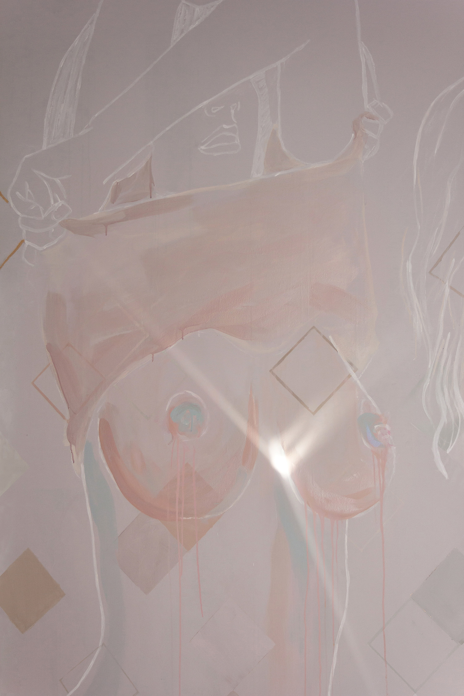 Topless woman mural - female is taking her top off and exposing her naked breasts. Painted in pastel and metallic colours with geometric shapes. Light illuminates the woman's heart.