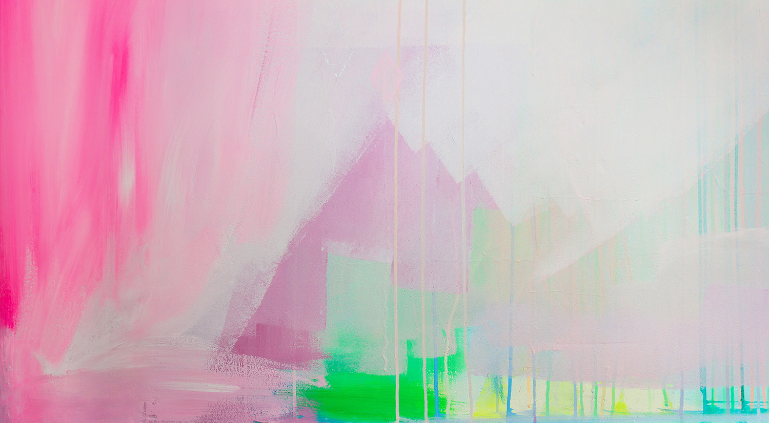 Closeup detail shot of pastel abstract mural, featuring dripping paint, painterly brushwork and soft colors.