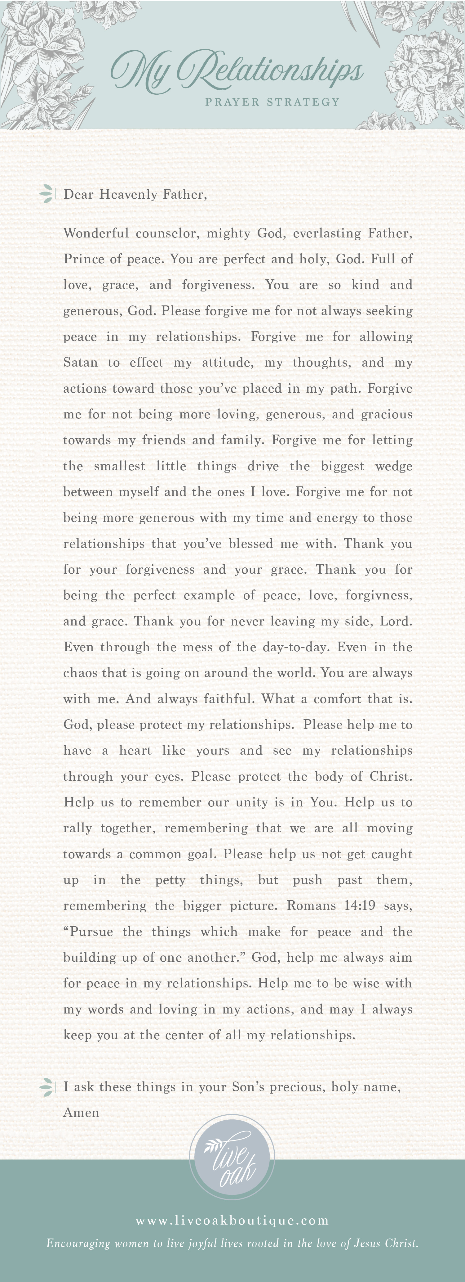 Prayer Strategy for Your Relationships from Live Oak Boutique. Stationery and gifts rooted in the love of Jesus Christ! www.liveoakboutique.com