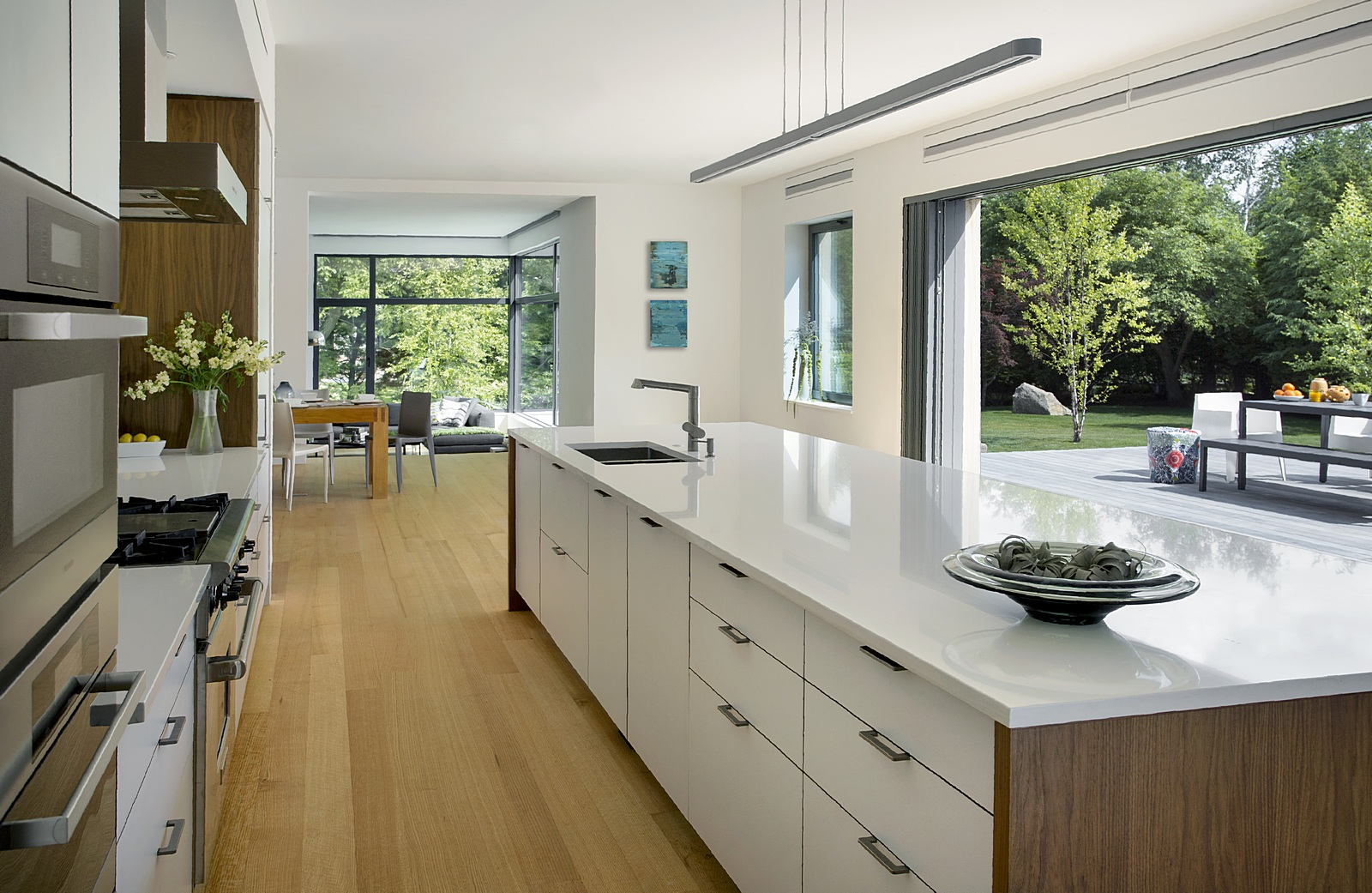 Modern kitchen with lift slide glass doors