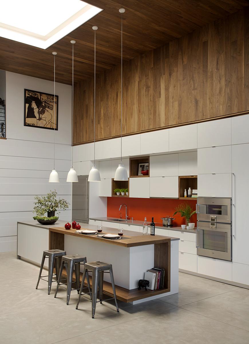 Modern Kitchen Island with Pendant Lights
