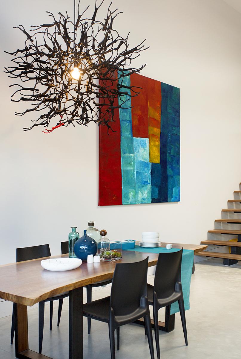 Modern Boston loft dining room