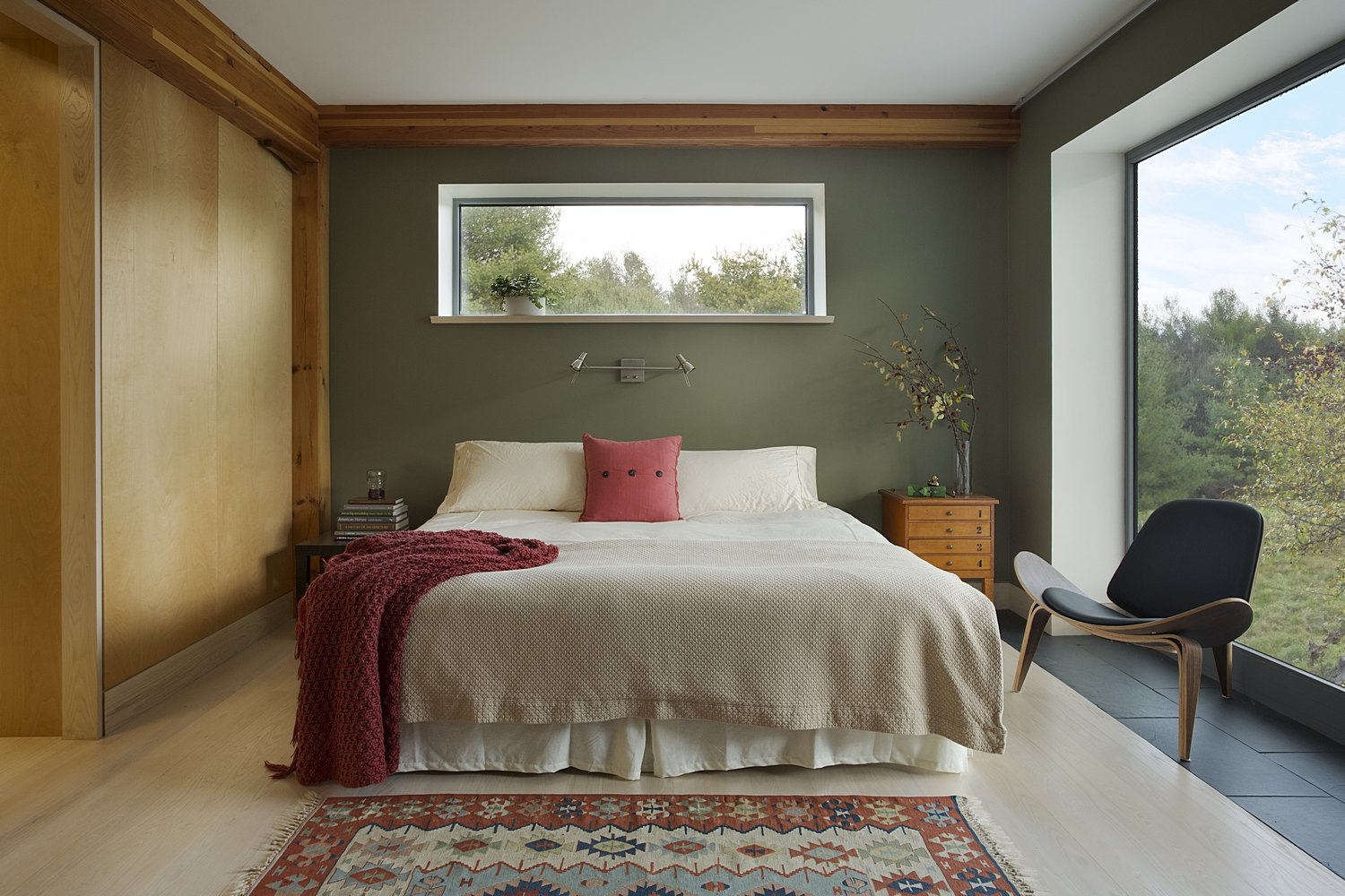 Modern farmstead master bedroom