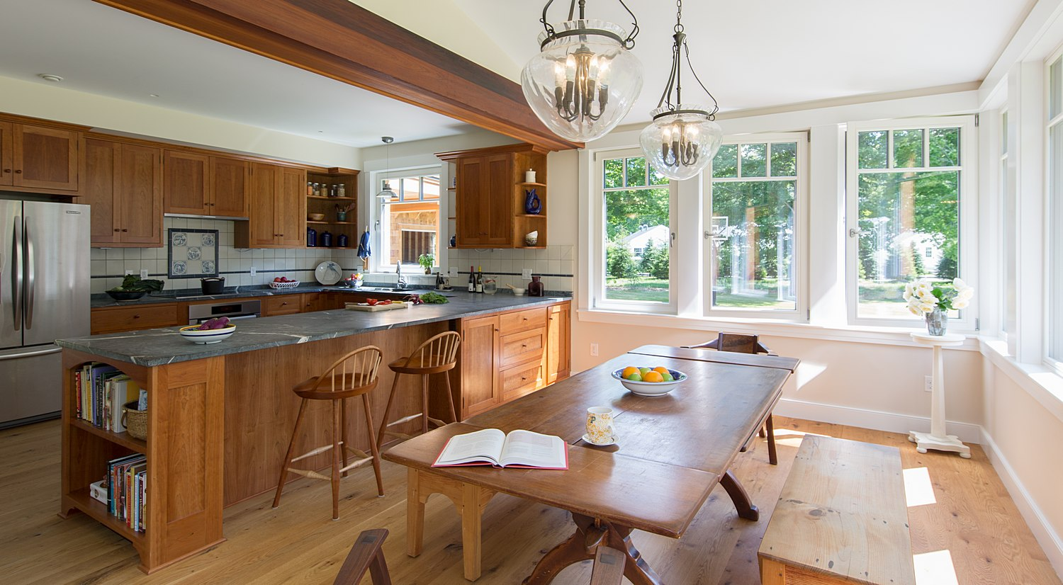Open concept dining and kitchen area