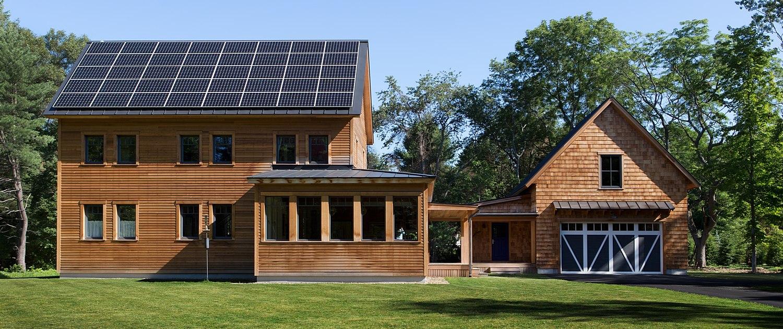 rooftop solar panels sustainable farmhouse