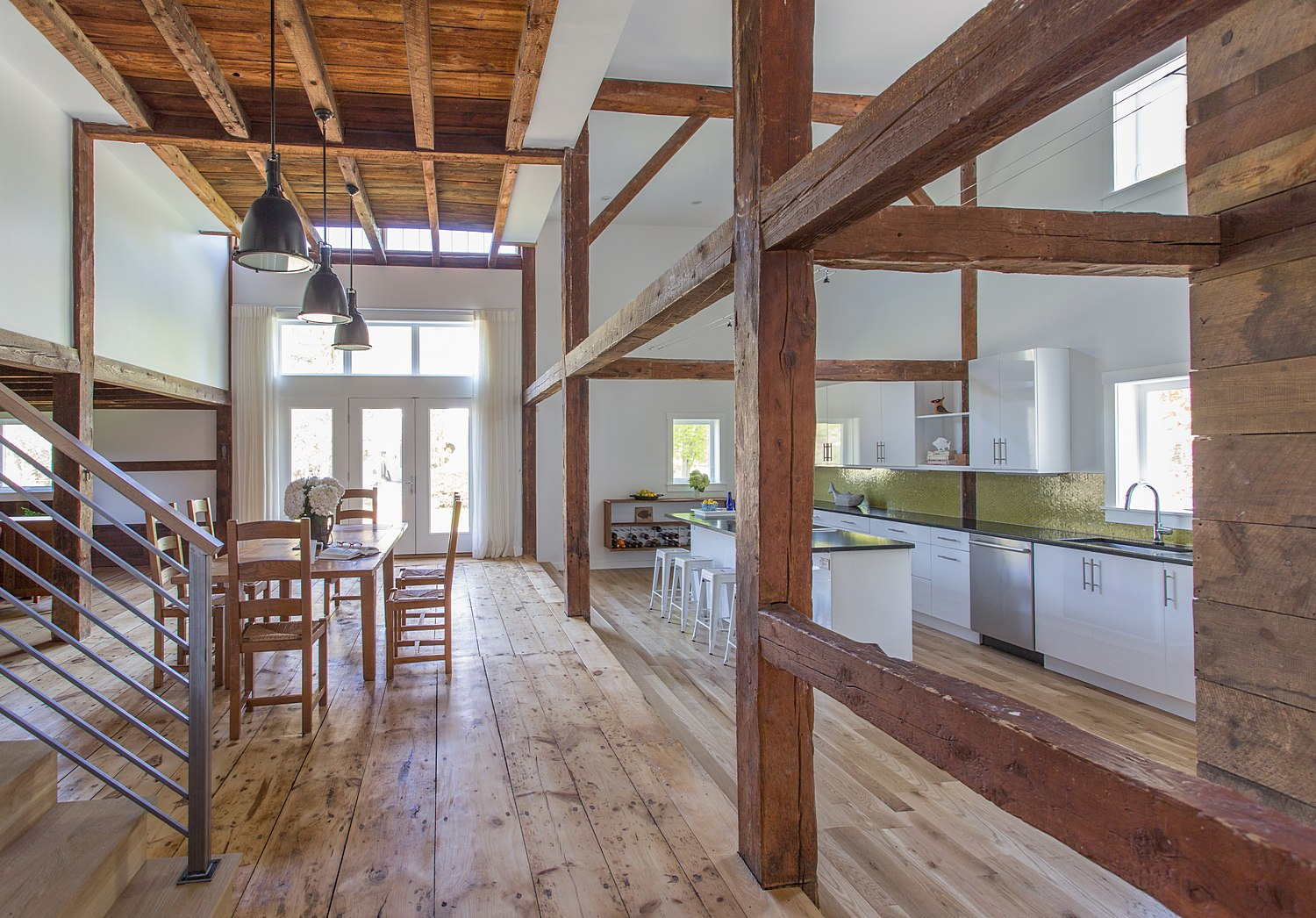 Renovated barn with step-down kitchen
