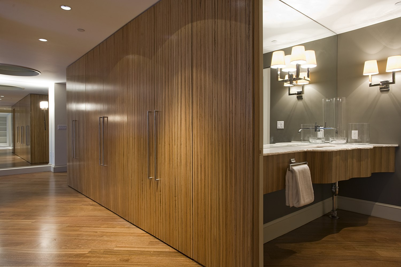 modern bathroom off hallway